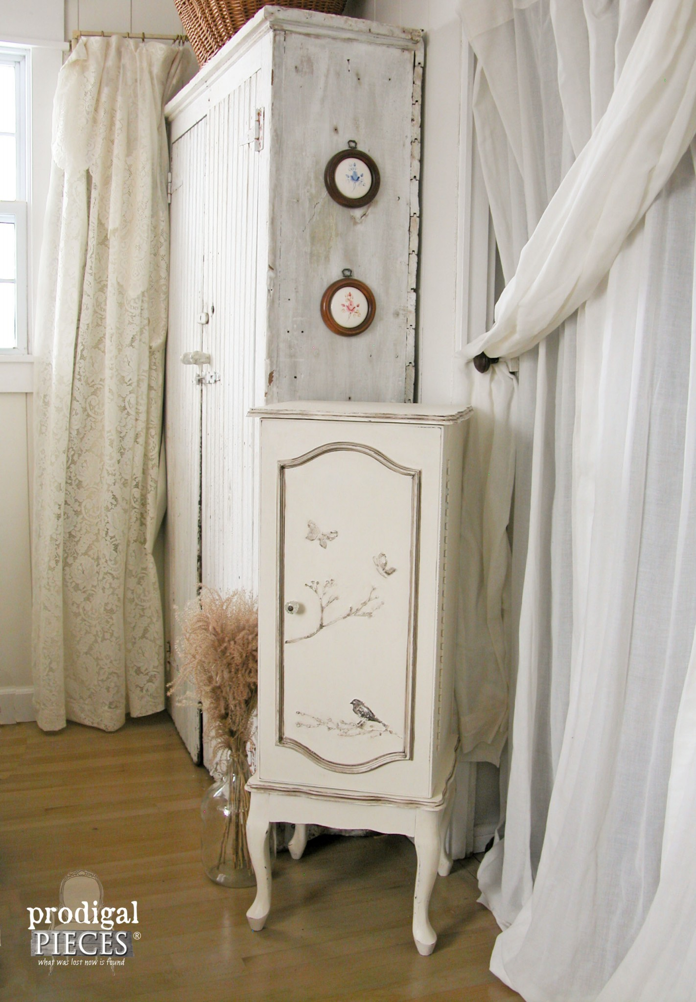 Vintage White Embossed Jewelry Armoire in Bedroom by Prodigal Pieces | www.prodigalpieces.com