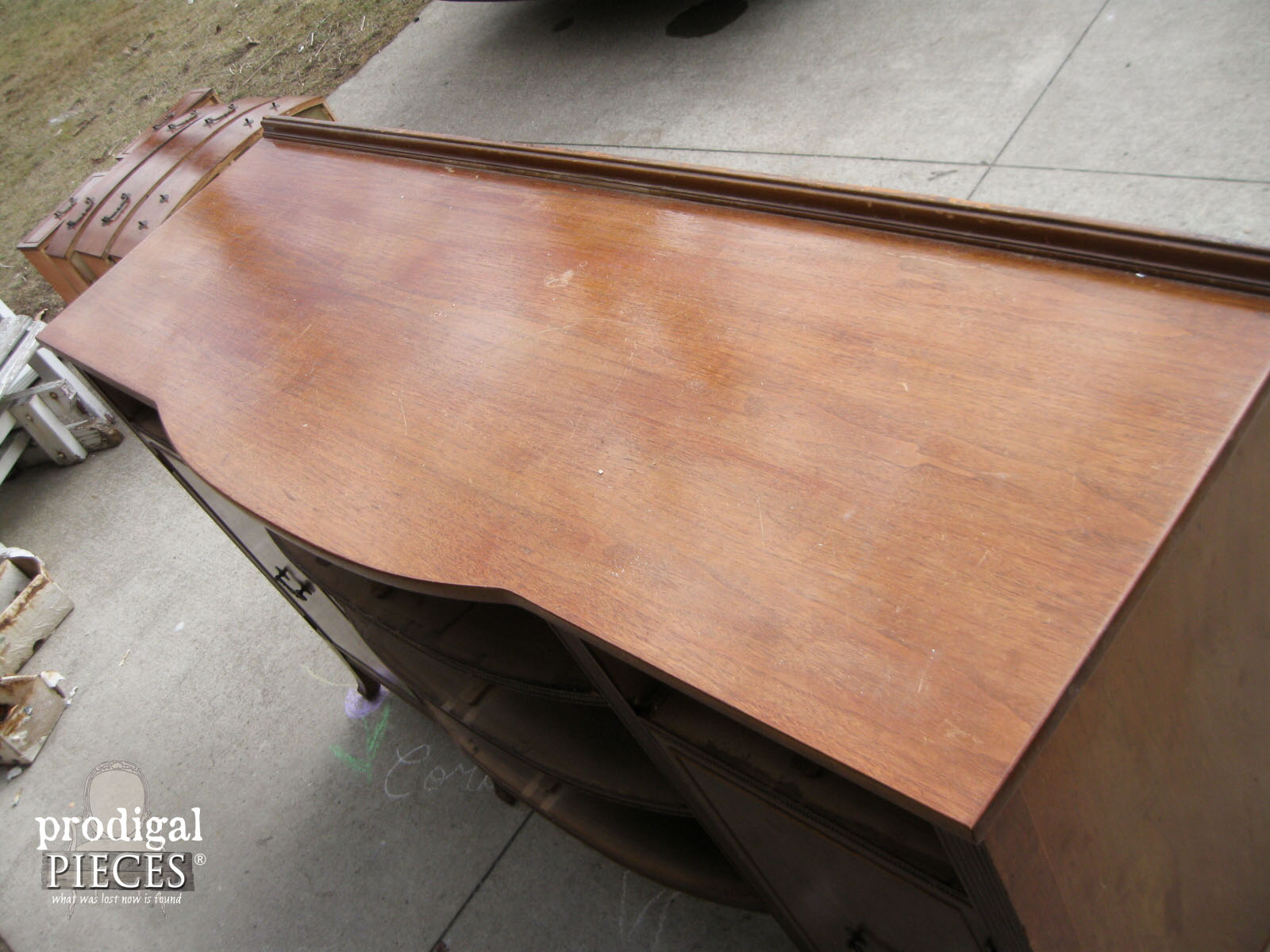Top of Vintage Sideboard Before Makeover by Prodigal Pieces | www.prodigalpieces.com
