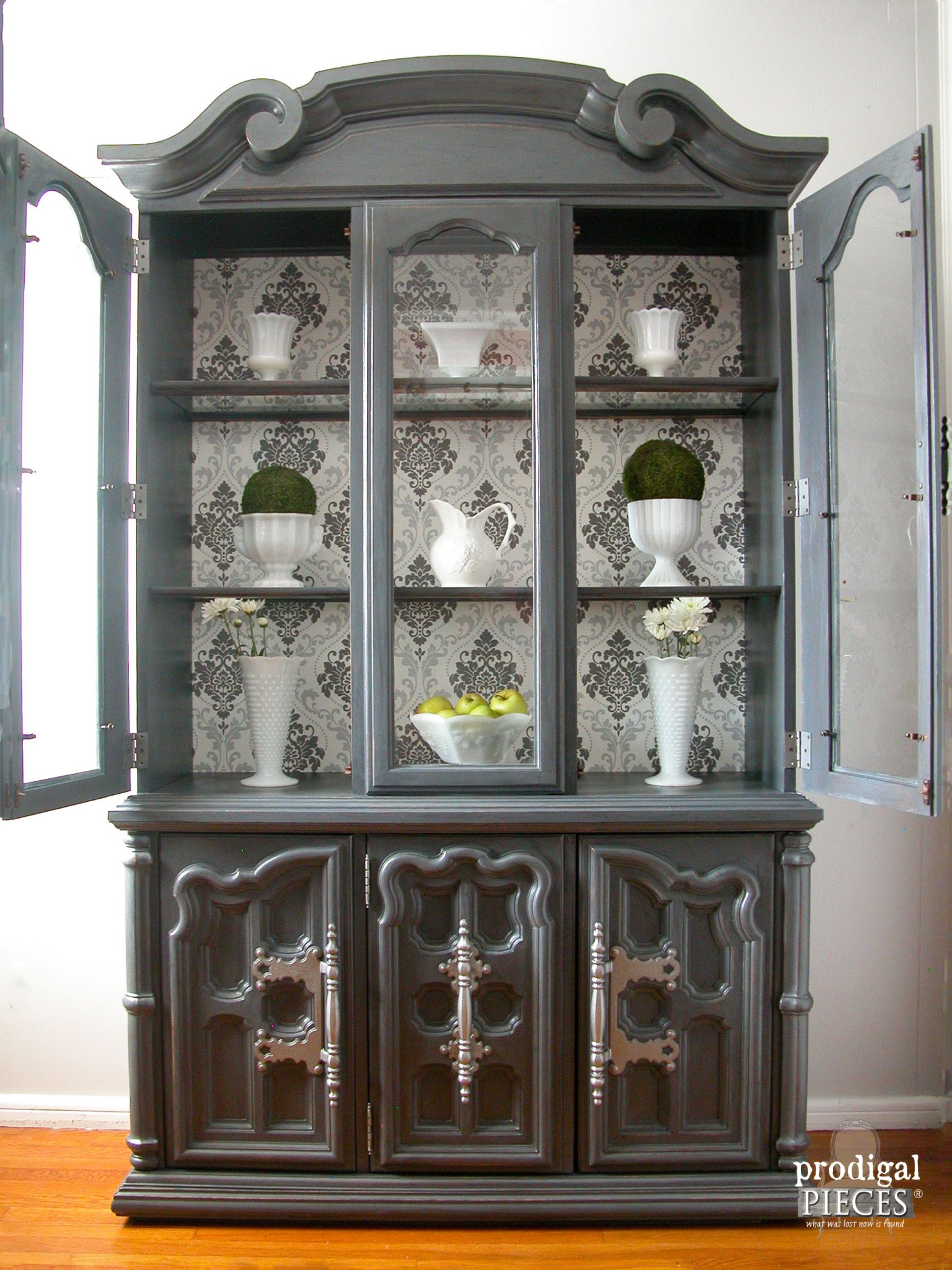 Open Display Of Wallpapered China Cabinet By Prodigal Pieces |  Www.prodigalpieces.com