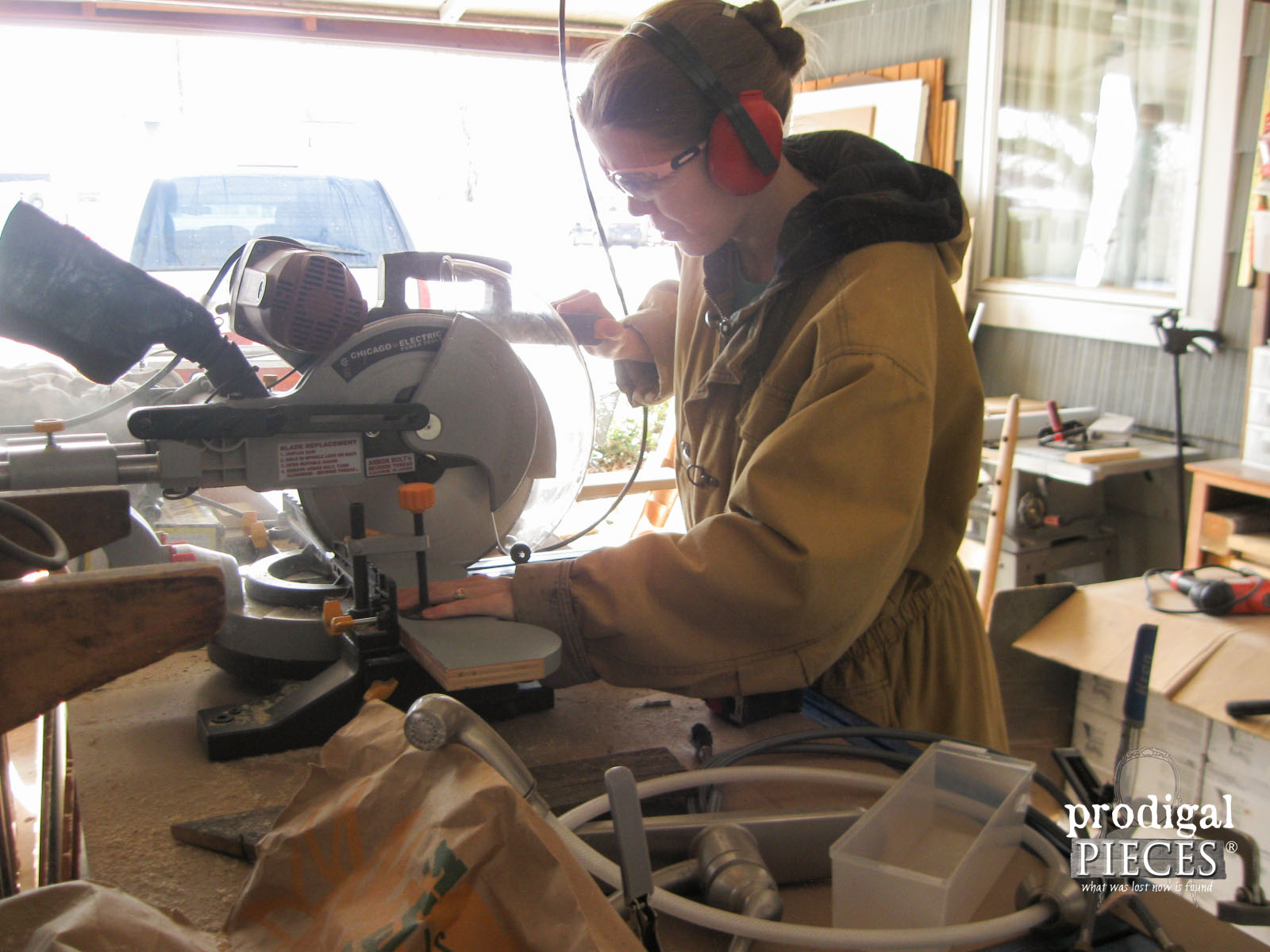 Using Miter Saw to Repurpose Kitchen Cabinets | Prodigal Pieces | www.prodigalpieces.com