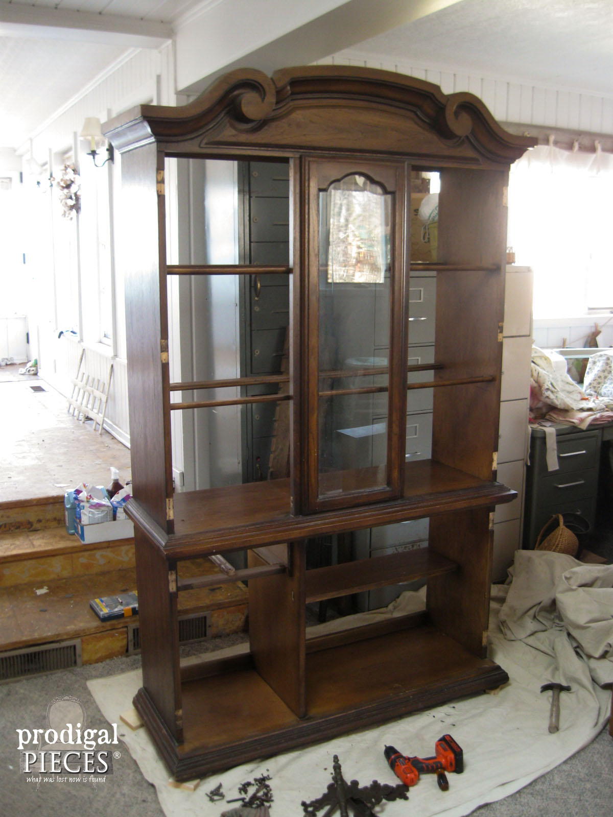 Prepping China Cabinet for Wallpaper Makeover by Prodigal Pieces | www.prodigalpieces.com