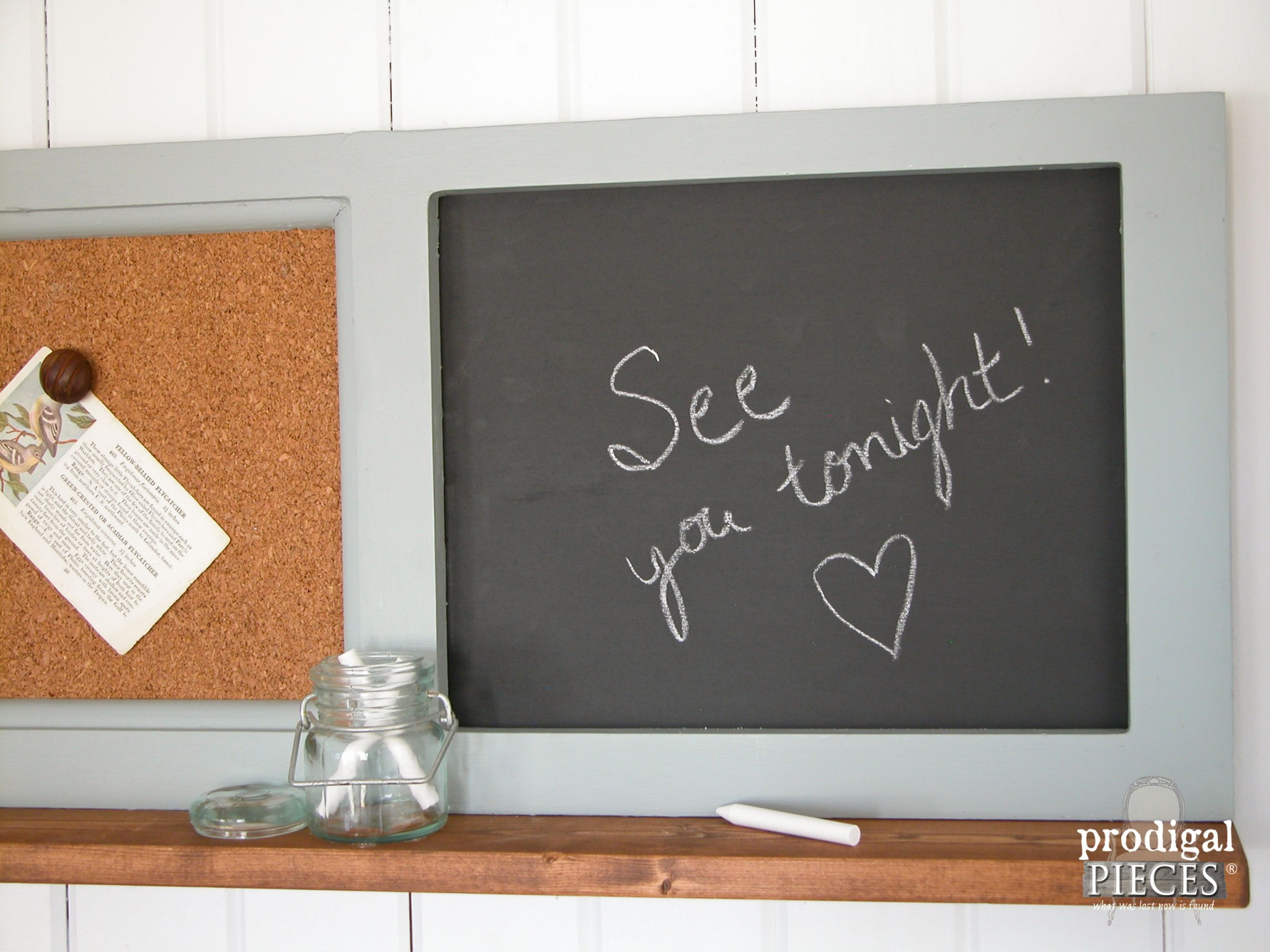 Chalkboard Side of Repurposed Message Center by Prodigal Pieces | www.prodigalpieces.com