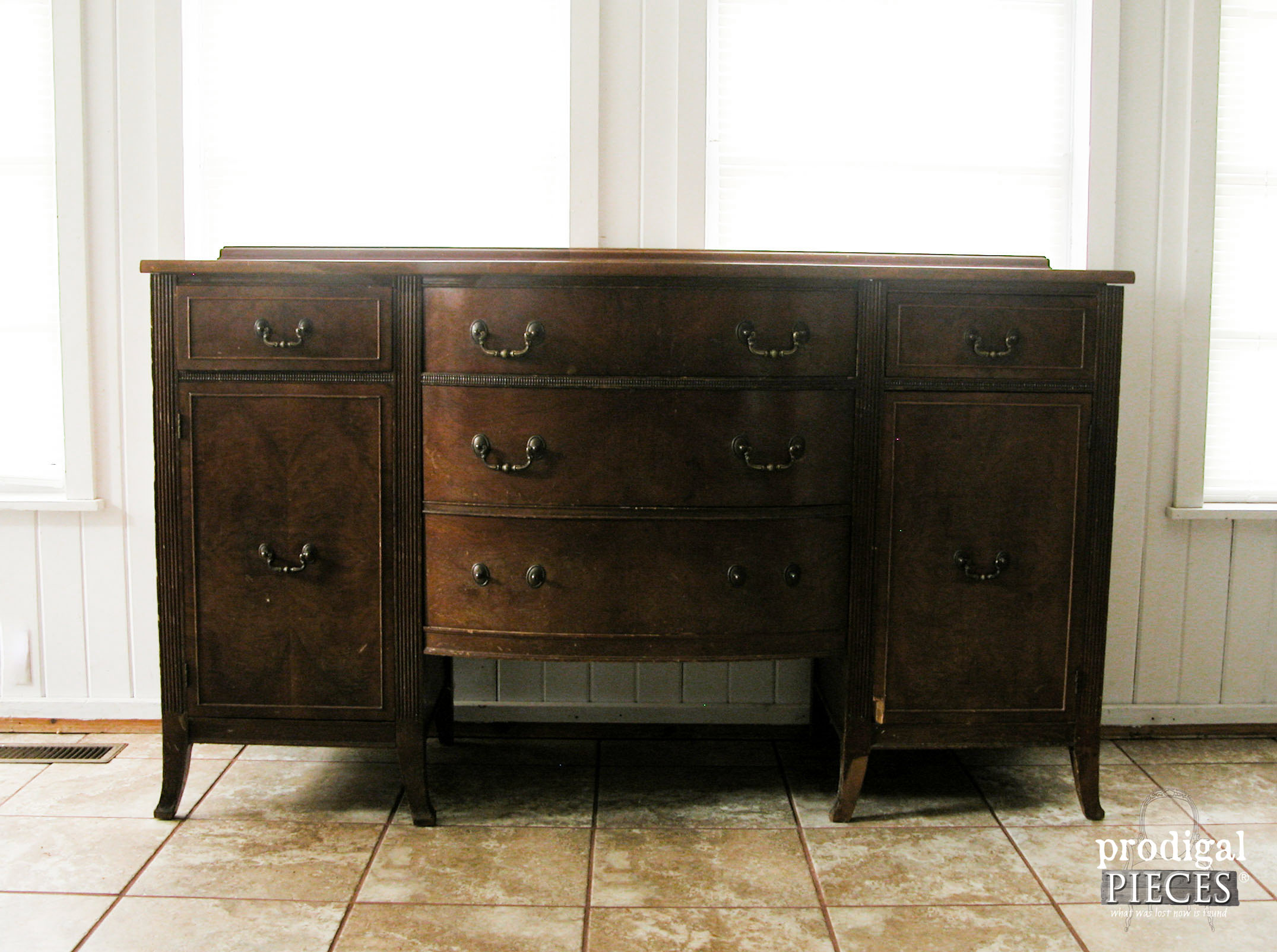 Vintage Duncan Phyfe Sideboard Makeover Before | Prodigal Pieces | www.prodigalpieces.com