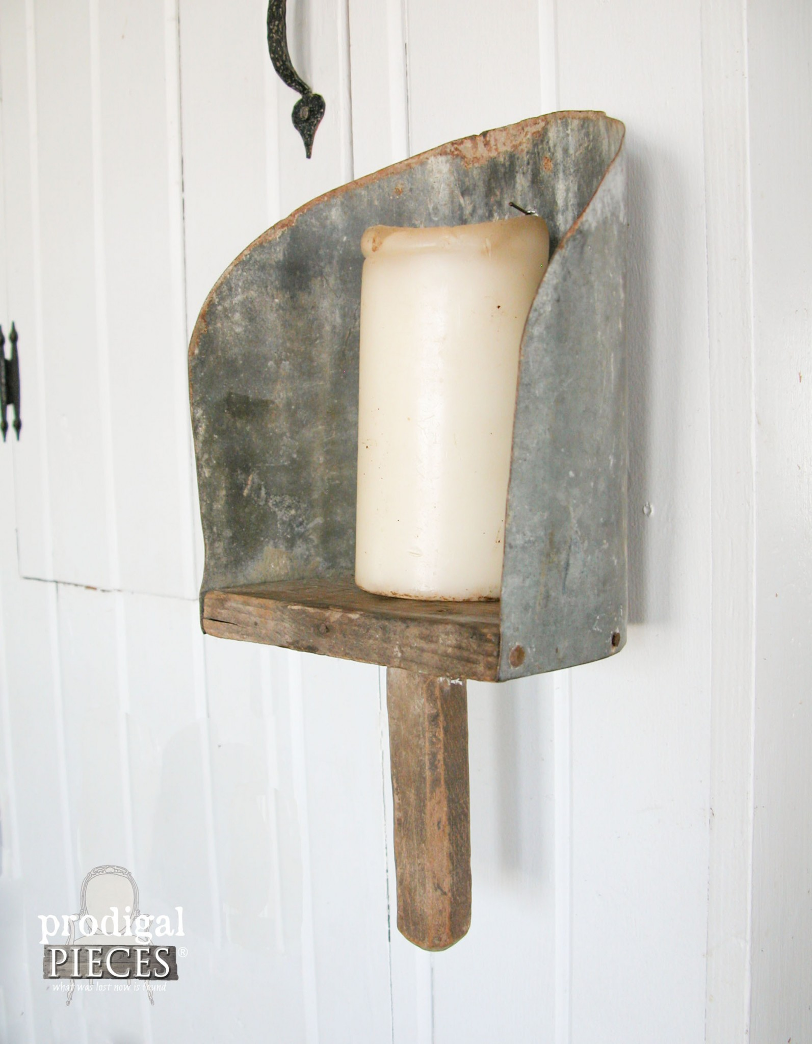 Side view of Repurposed Farmhouse Feed Scoop Candle Sconce by Prodigal Pieces | www.prodigalpieces.com
