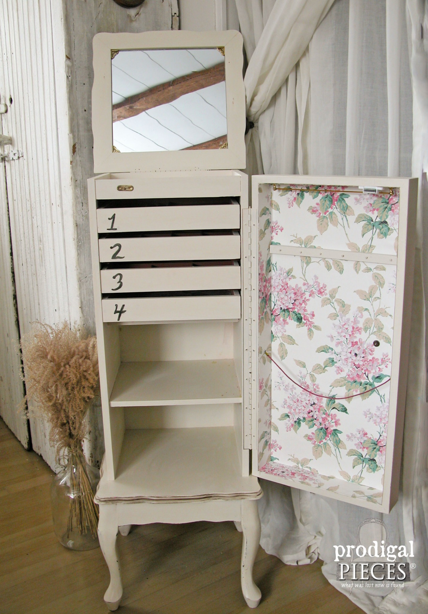 Refinished Jewelry Armoire with Wallpaper by Prodigal Pieces | www.prodigalpieces.com