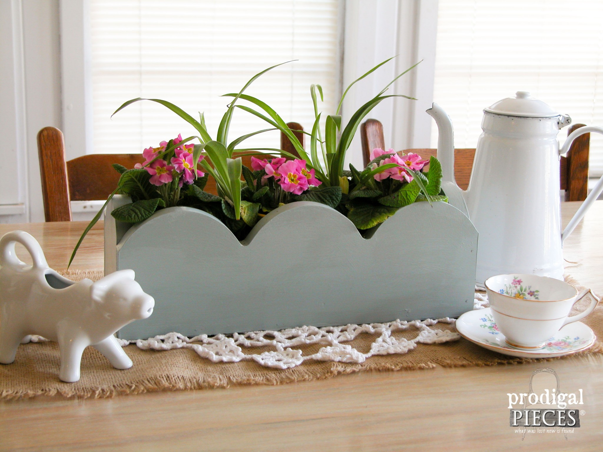 Table Centerpiece made from Repurposed Kitchen Cabinets by Prodigal Pieces | www.prodigalpieces.com
