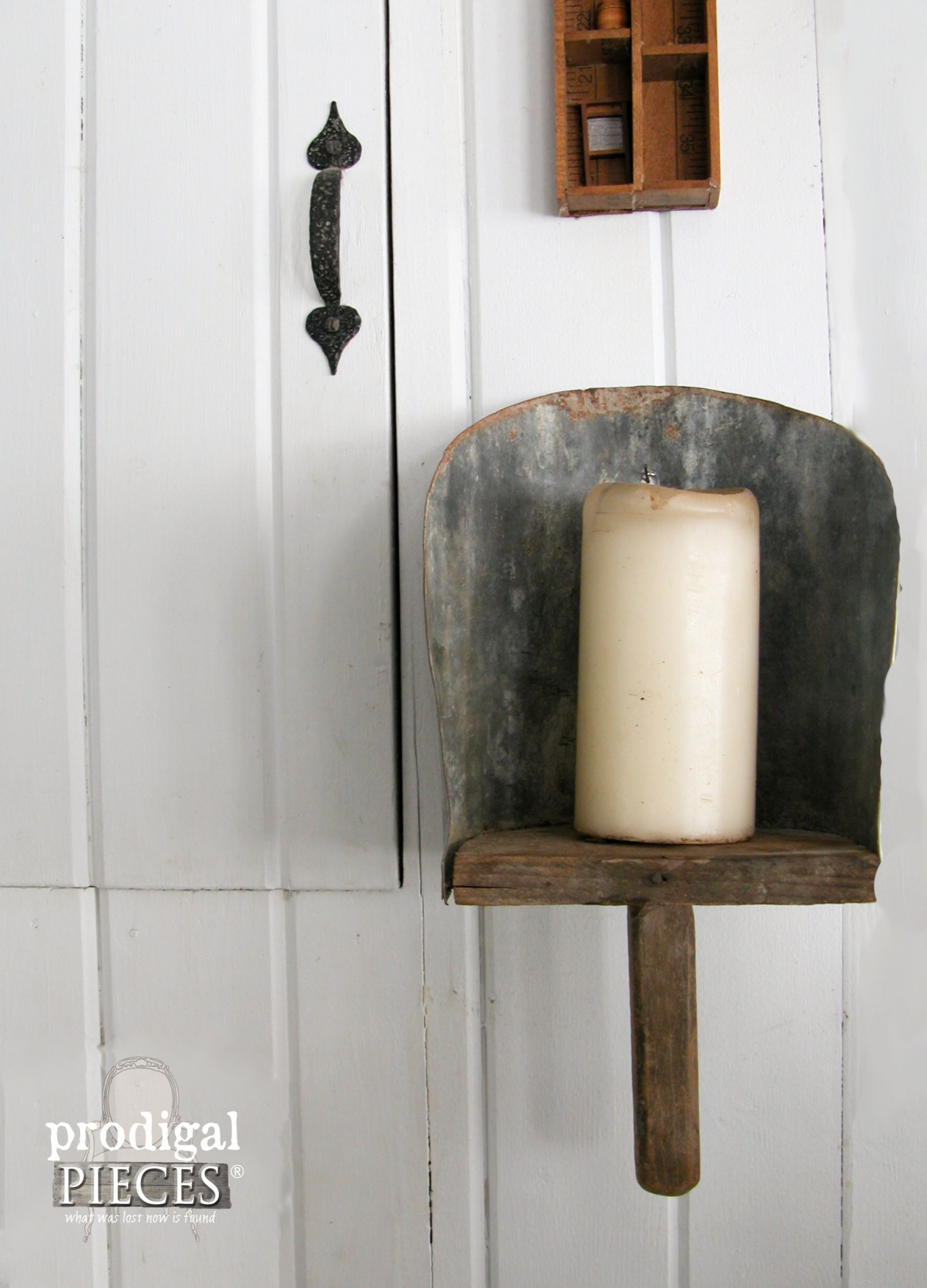Repurposed Farmhouse Feed Scoop Candle Sconce by Prodigal Pieces | prodigalpieces.com