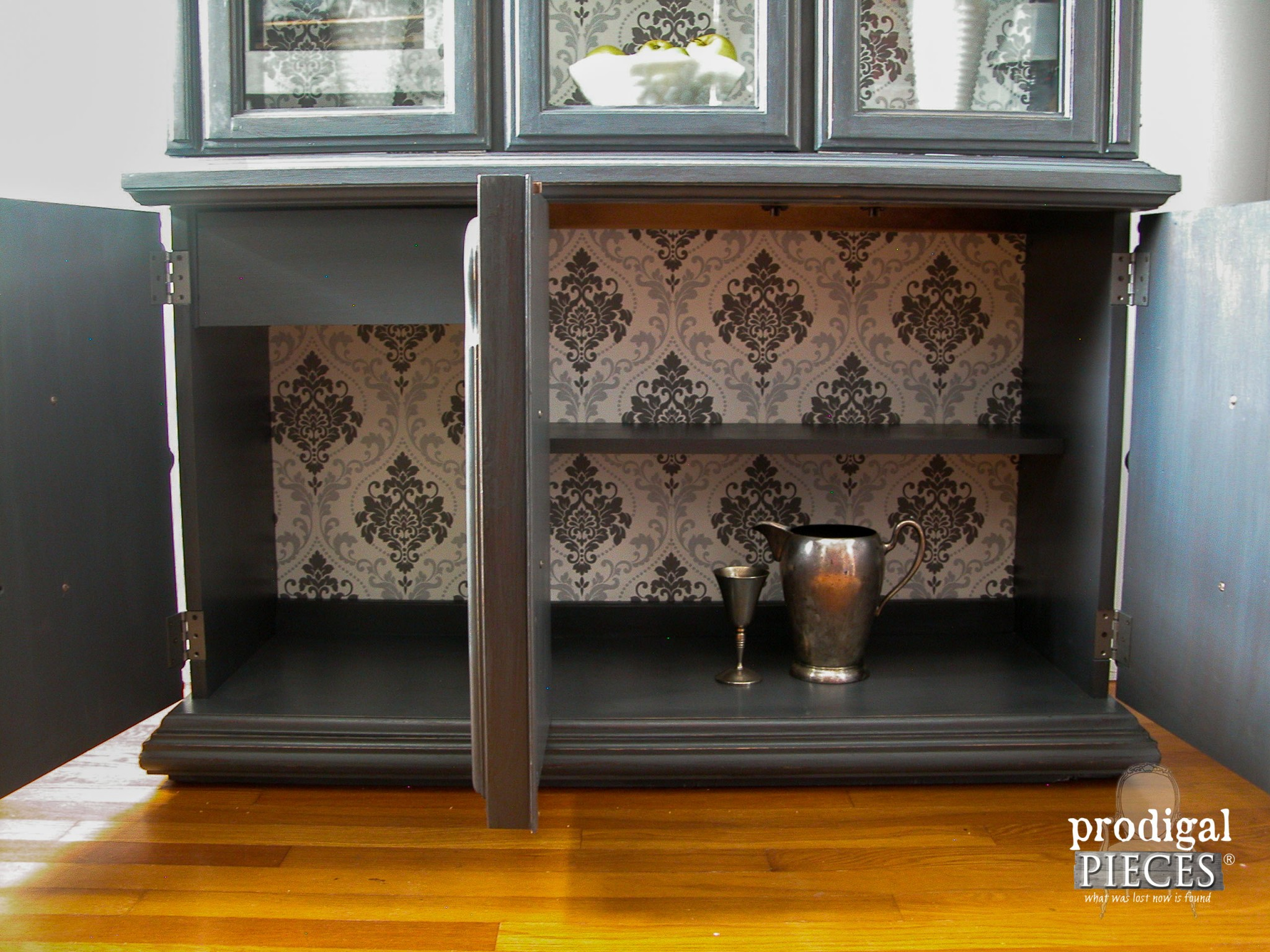 Bottom Storage of Wallpapered China Cabinet by Prodigal Pieces | www.prodigalpieces.com