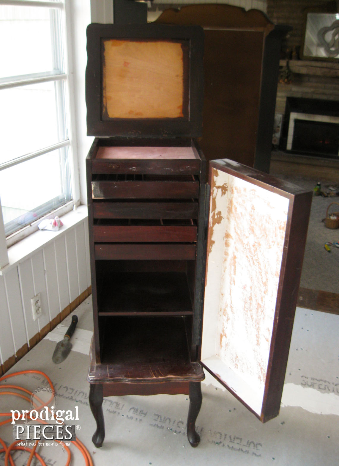 Prepping Jewelry Armoire for Makeover | Prodigal Pieces | www.prodigalpieces.com