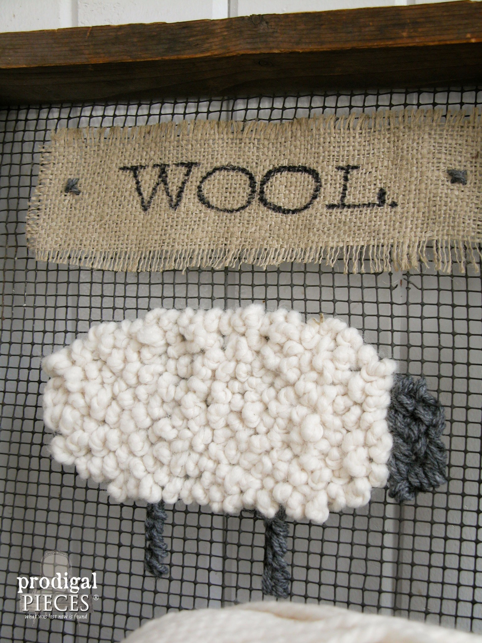 Rustic Wooly Sheep Repurposed Art by Prodigal Pieces | www.prodigalpieces.com