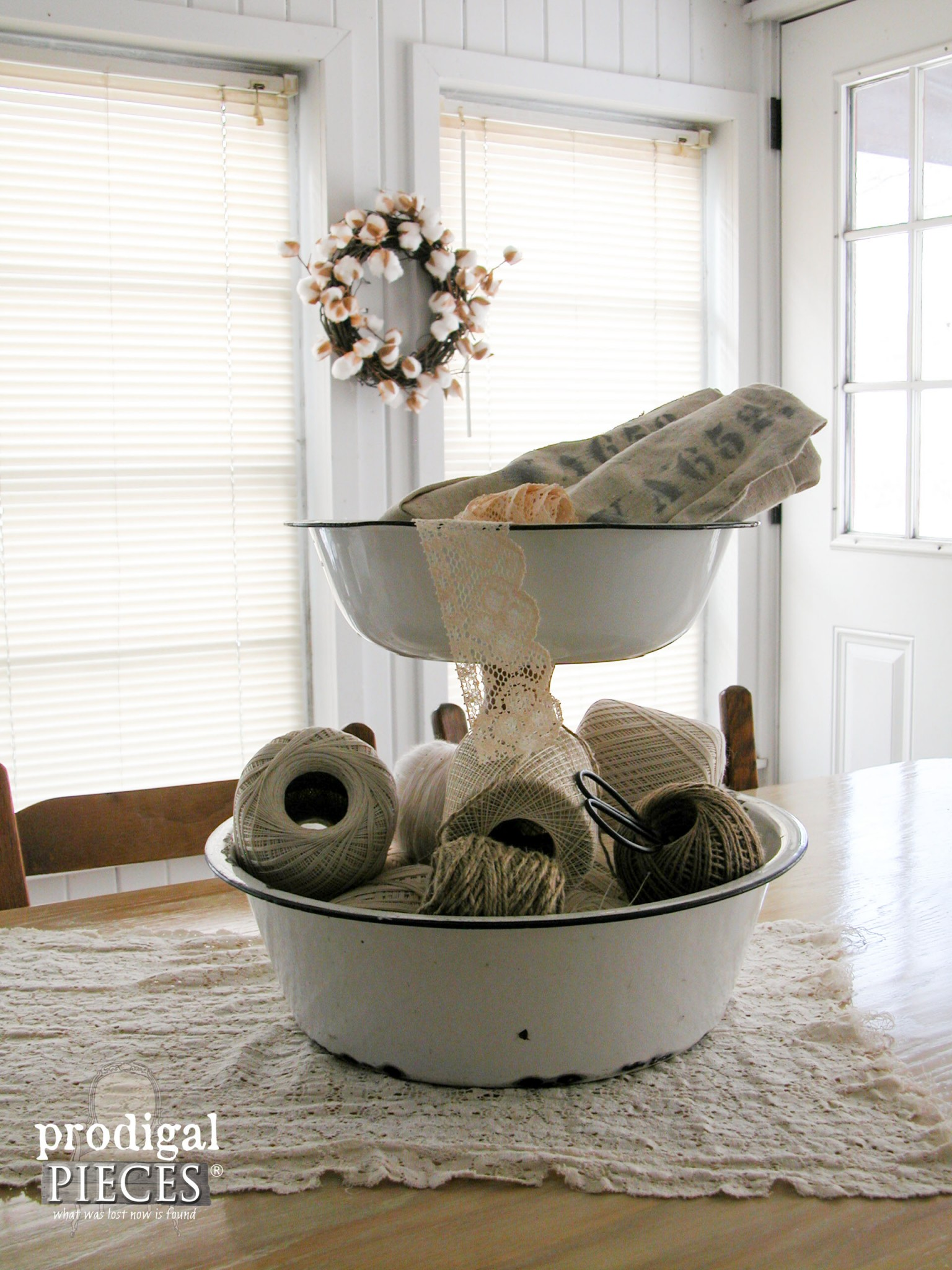 Upcycled Enamelware Basin Stand created by Prodigal Pieces | www.prodigalpieces.com