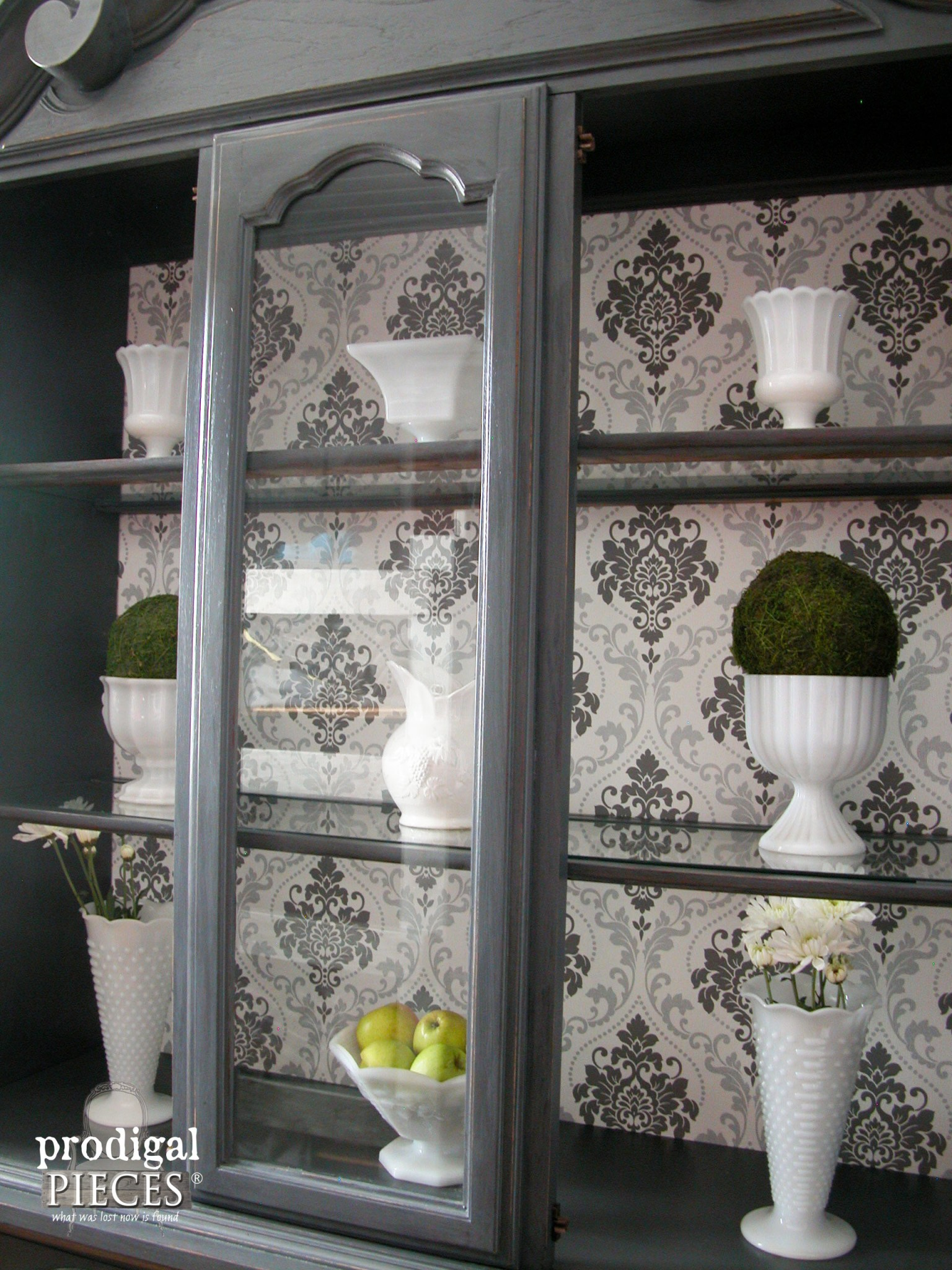 Interior View of Wallpapered China Cabinet by Prodigal Pieces | www.prodigalpieces.com