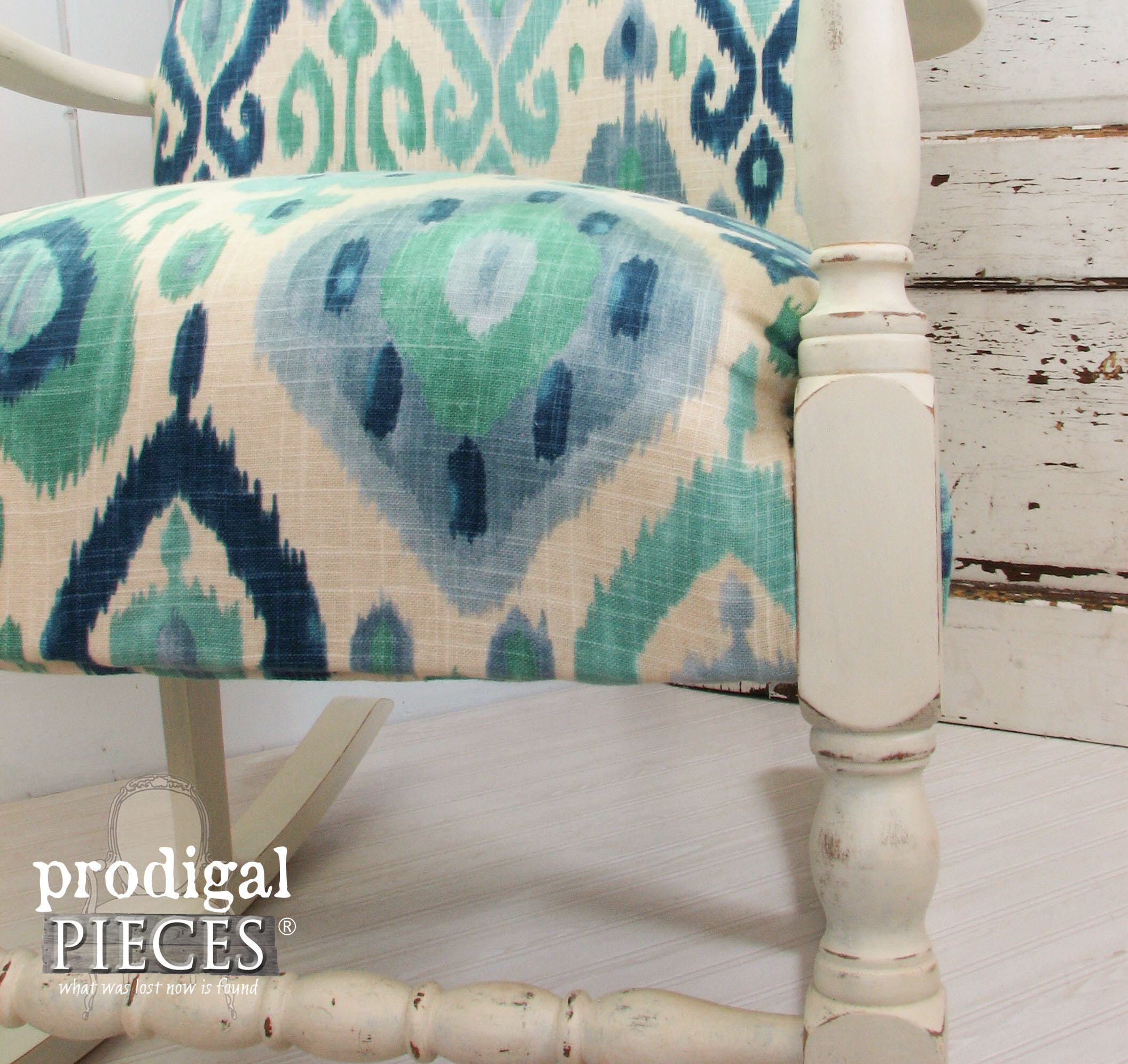 Corner of Ikat Rocking Chair Makeover by Prodigal Pieces | www.prodigalpieces.com