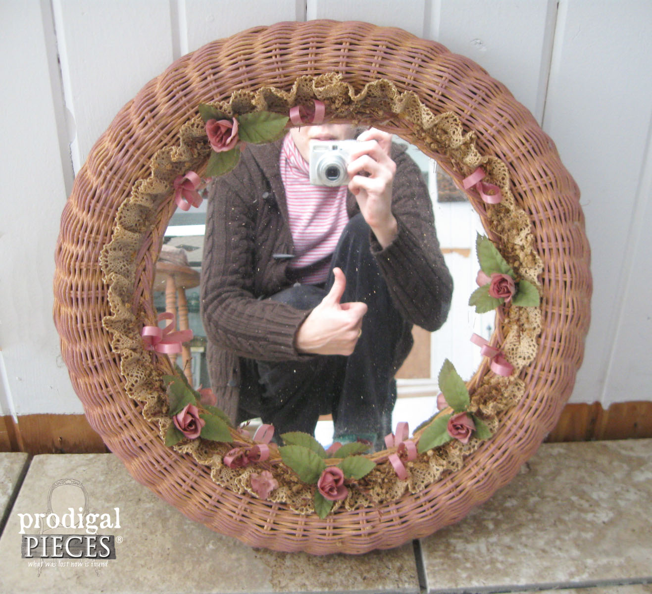 Thrifted Pink Mirror Before | Prodigal Pieces | www.prodigalpieces.com