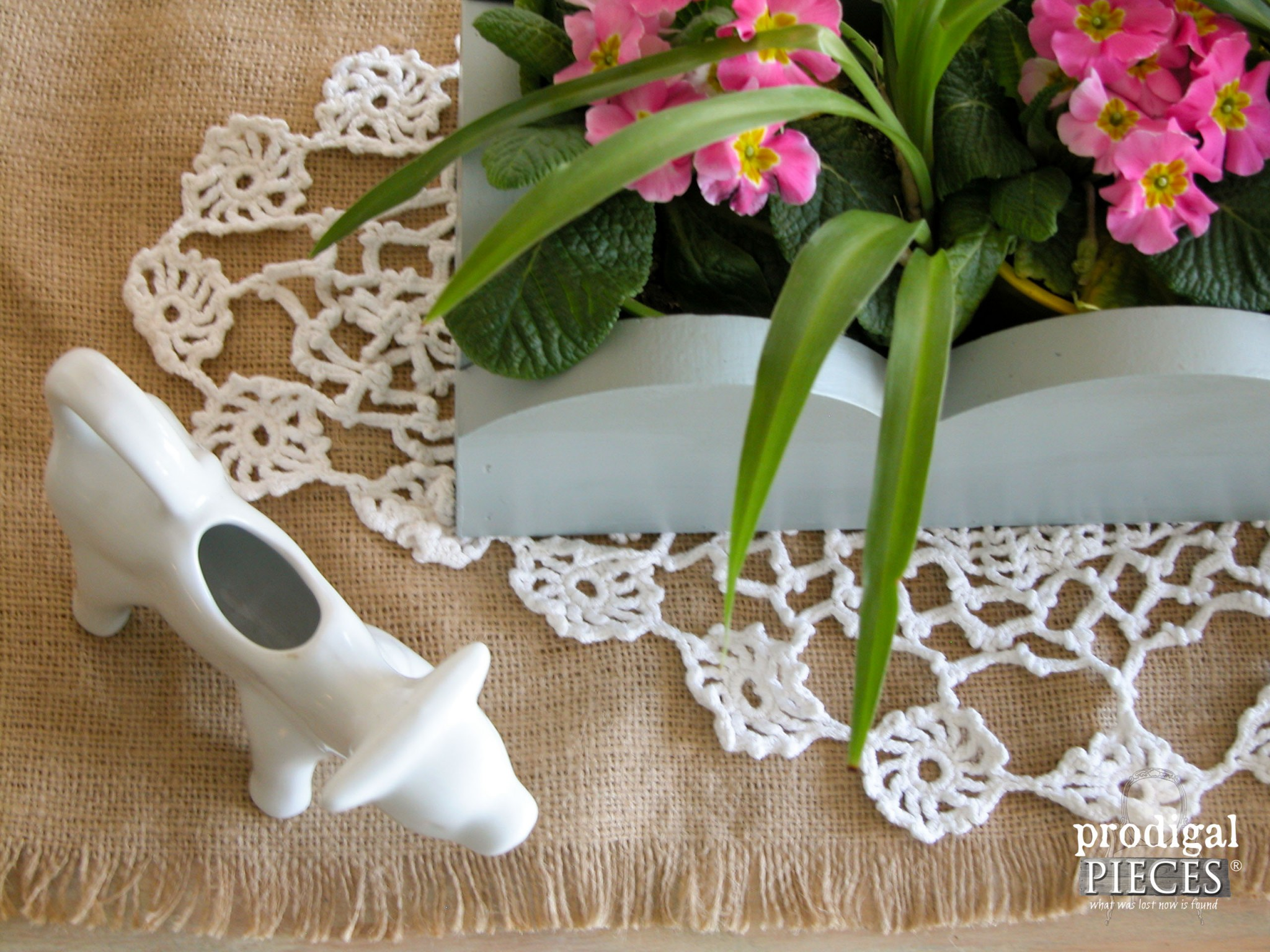 Top View of Repurposed Valance Centerpiece by Prodigal Pieces | www.prodigalpieces.com