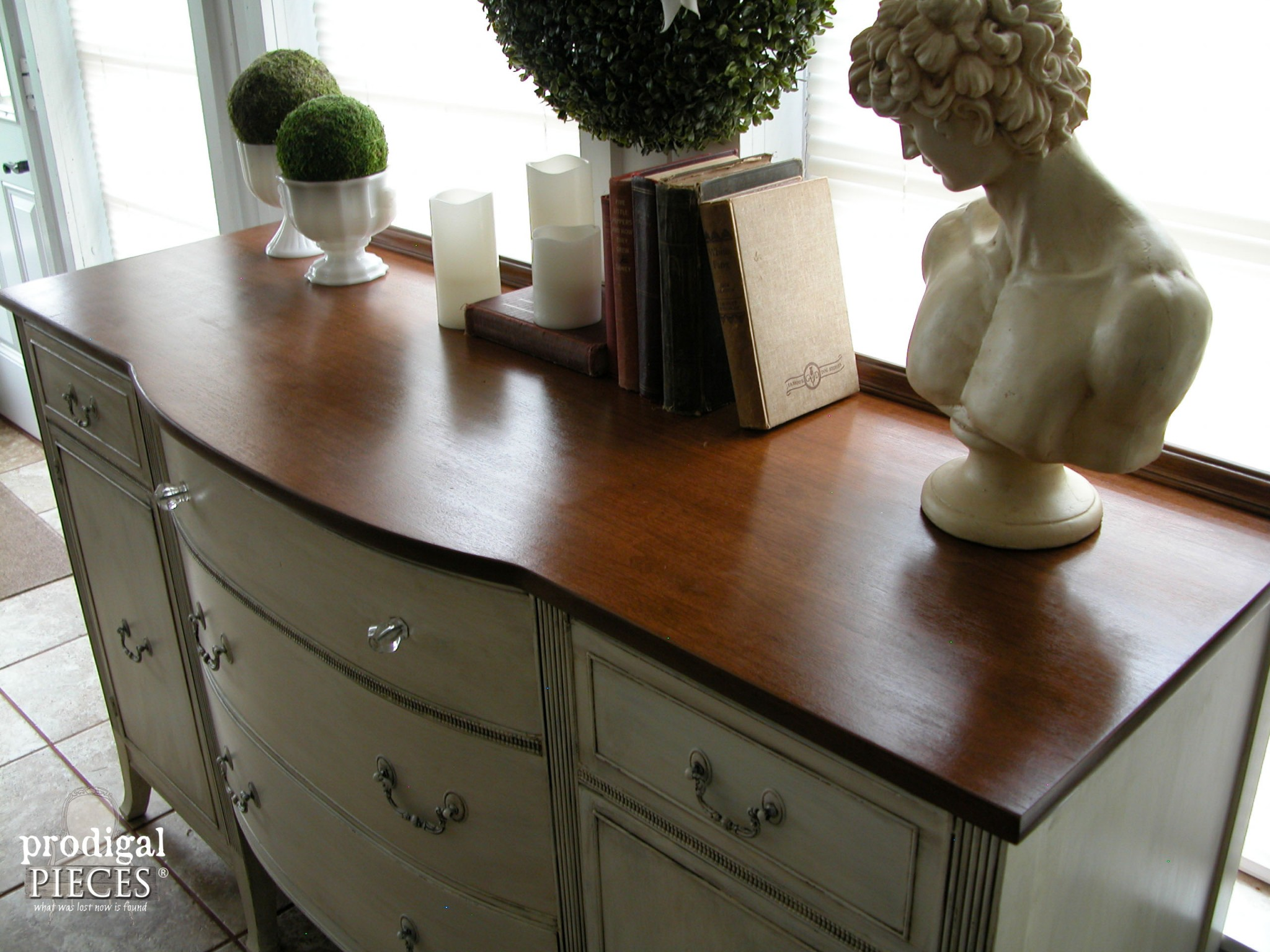 Top of Vintage Sideboard Refinished by Prodigal Pieces | www.prodigalpieces.com
