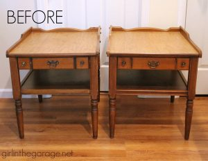 Vintage End Tables Before by Girl in the Garage