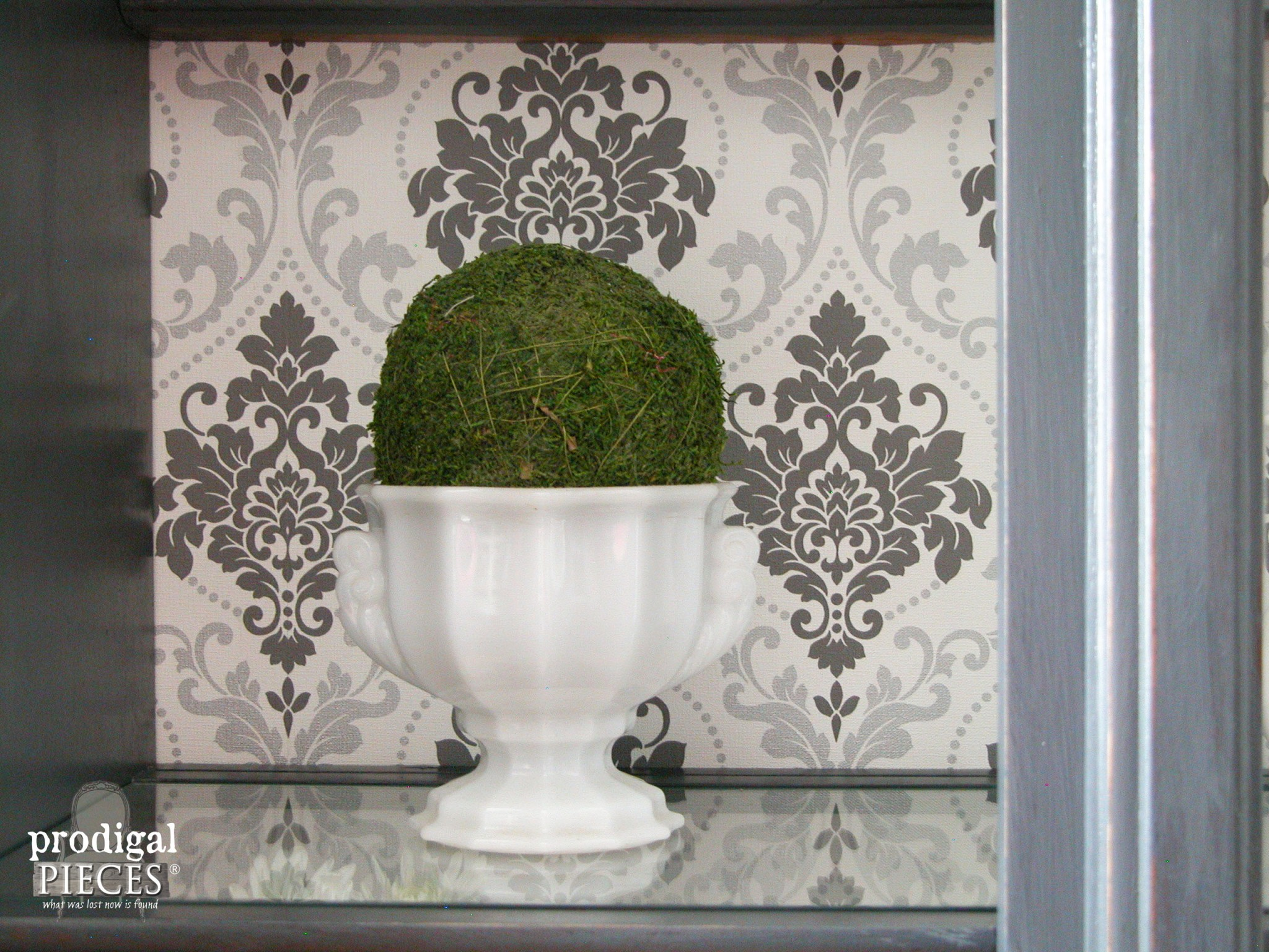 Damask Wallpaper as China Cabinet Backing by Prodigal Pieces | www.prodigalpieces.com