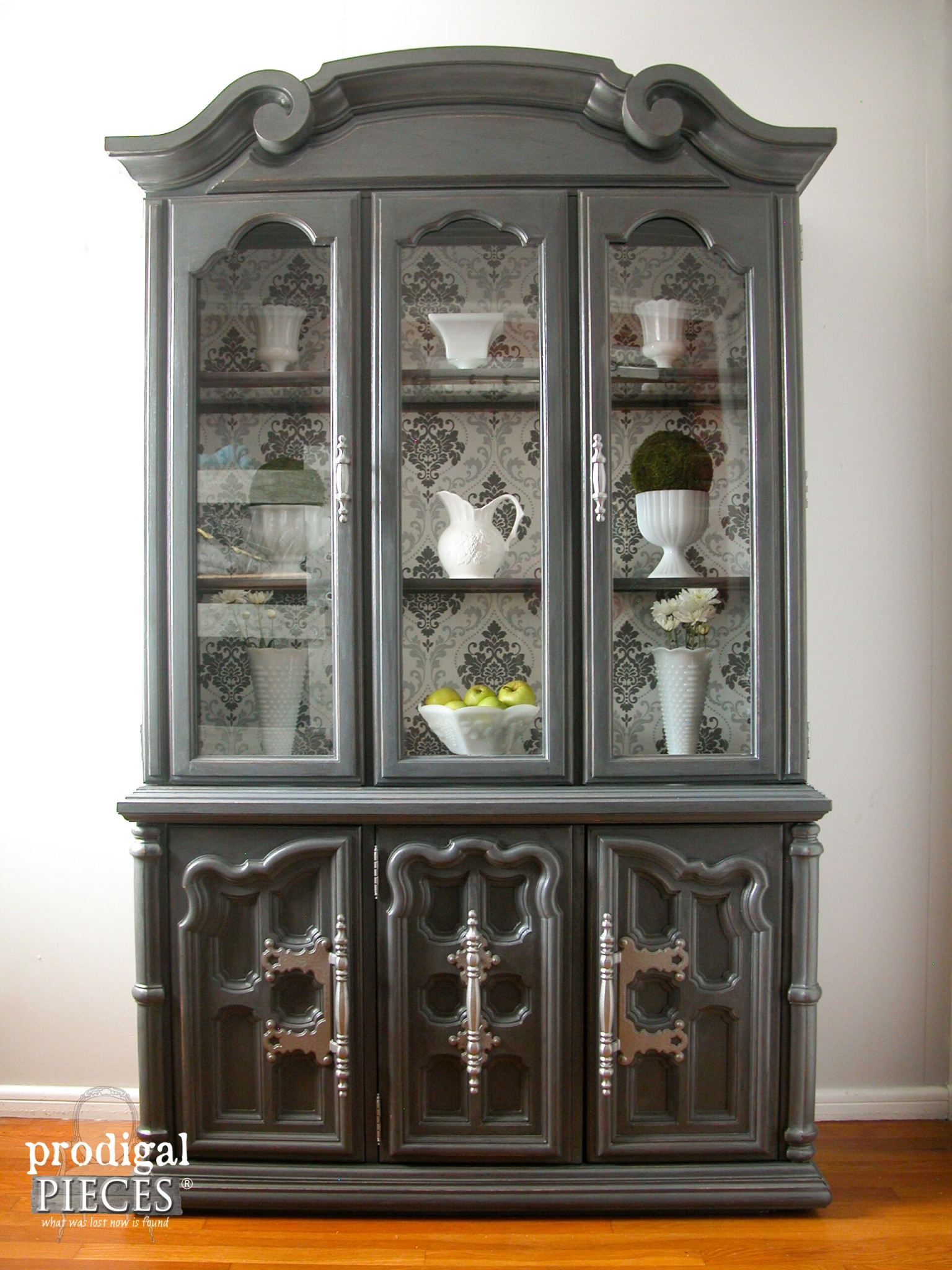 China Cabinet Gets Updated with Wallpaper by Prodigal Pieces | www.prodigalpieces.com