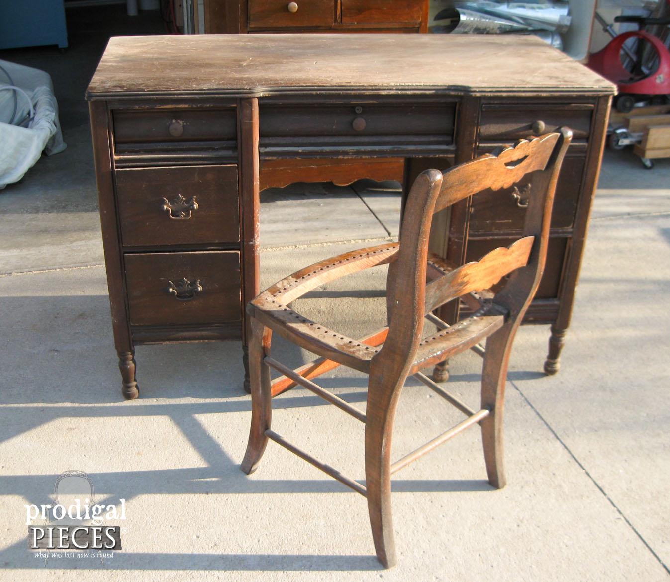 Damaged Antique Desk Before | Prodigal Pieces | www.prodigalpieces.com