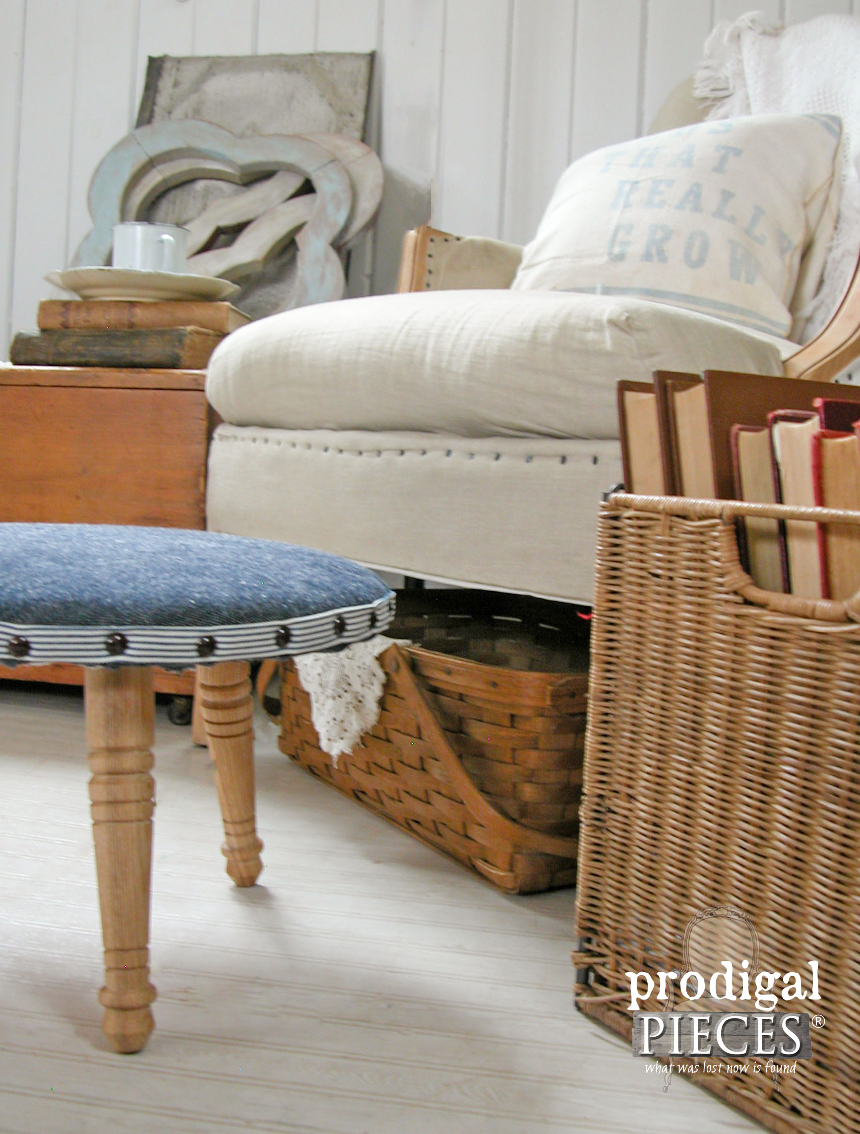Thrifted Baskets, Books, and Footstool Home Decor by Prodigal Pieces | www.prodigalpieces.com