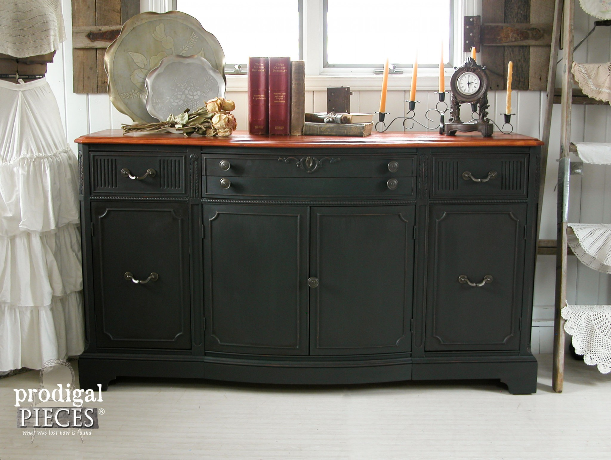 Vintage Buffet Gets Black Paint And Cherry Stain Makeover By Prodigal Pieces Www Prodigalpieces