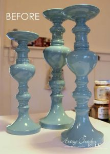Thrifted Candlesticks Before by Artsy Chicks Rule