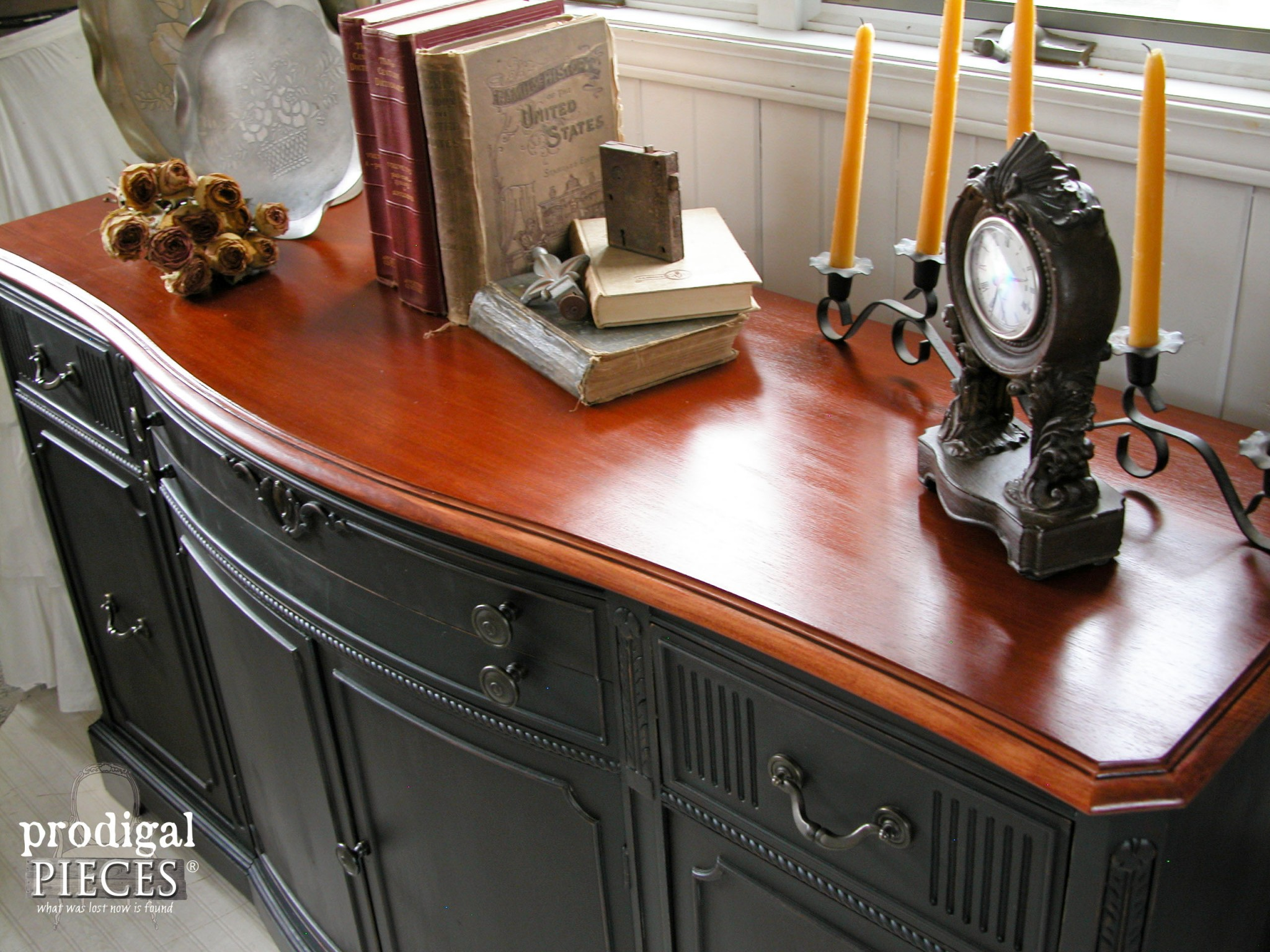Cherry Stained Top of Vintage Buffet Refinished by Prodigal Pieces | www.prodigalpieces.com