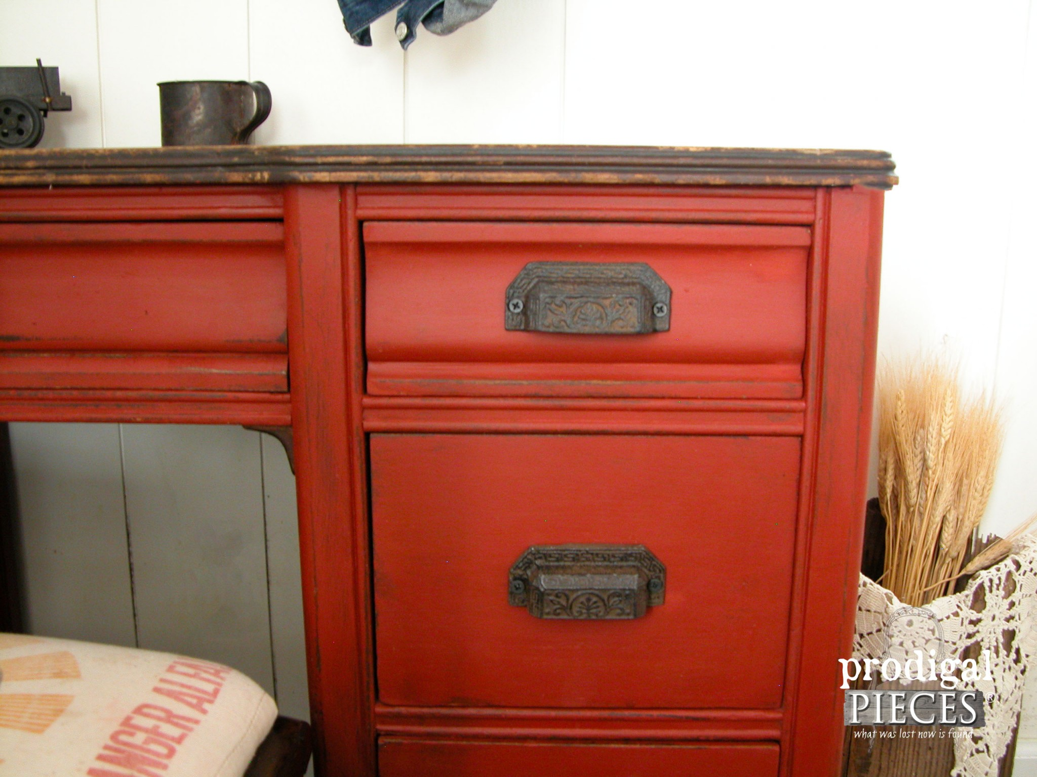 Corner of Rustic Red Farmhouse Desk Set by Prodigal Pieces | www.prodigalpieces.com