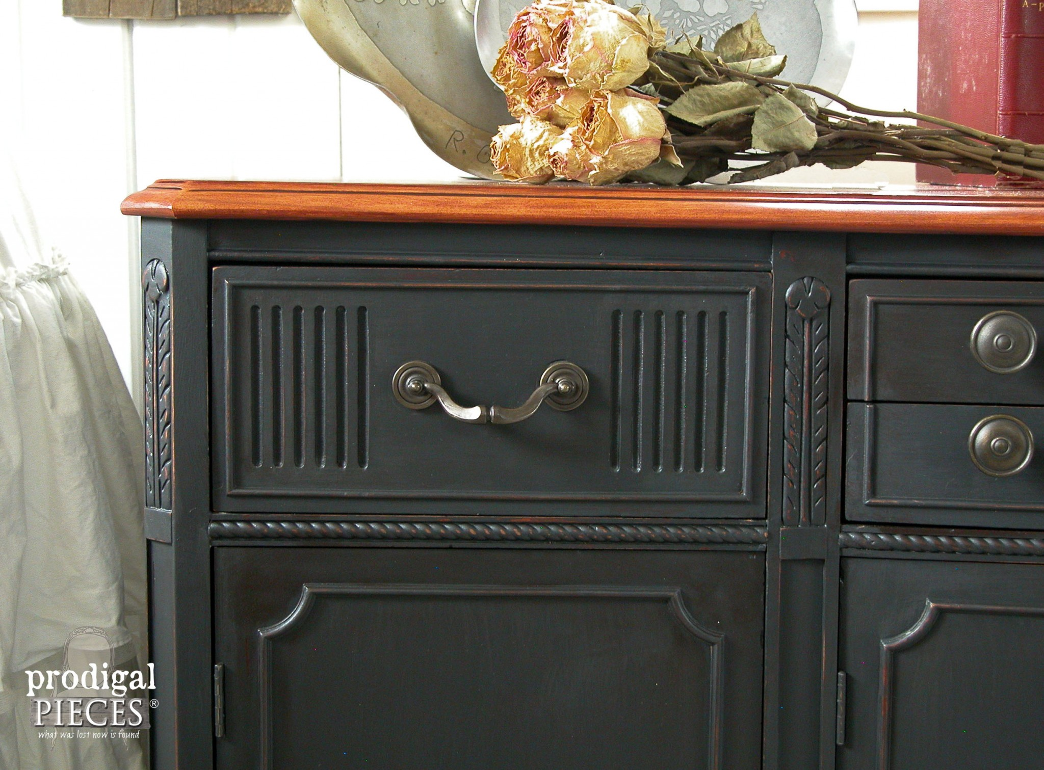 Corner of Vintage Black Buffet by Prodigal Pieces | www.prodigalpieces.com