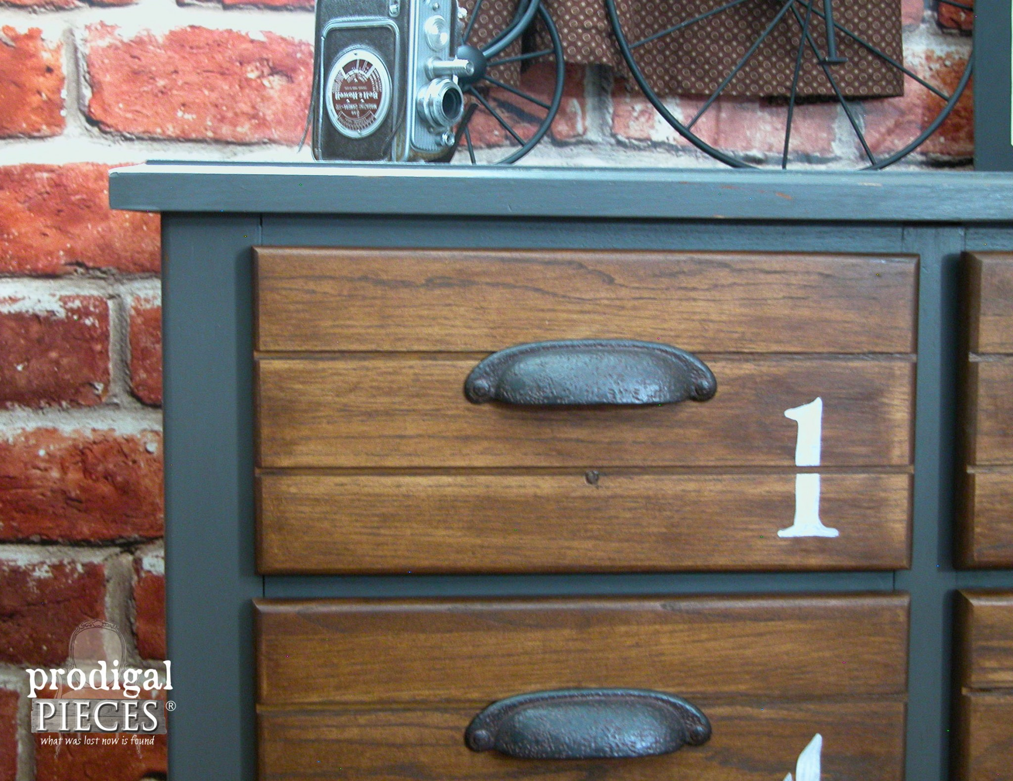 Corner of Industrial Vintage Dresser by Prodigal Pieces | www.prodigalpieces.com