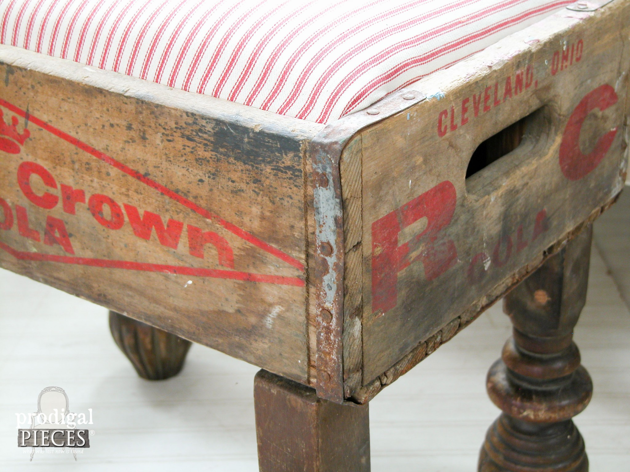 Patina Perfection on Vintage Soda Crate Stool by Prodigal Pieces | www.prodigalpieces.com