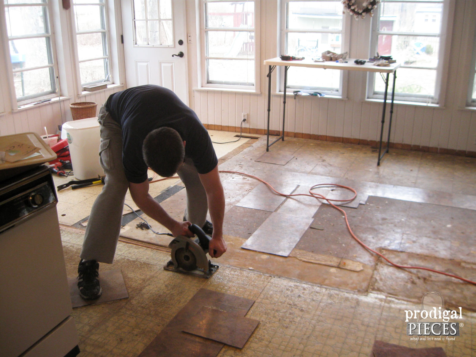 Repairing Transition from Two Kitchen Floors in Farmhouse Kitchen Remodel | Prodigal Pieces | prodigalpieces.com