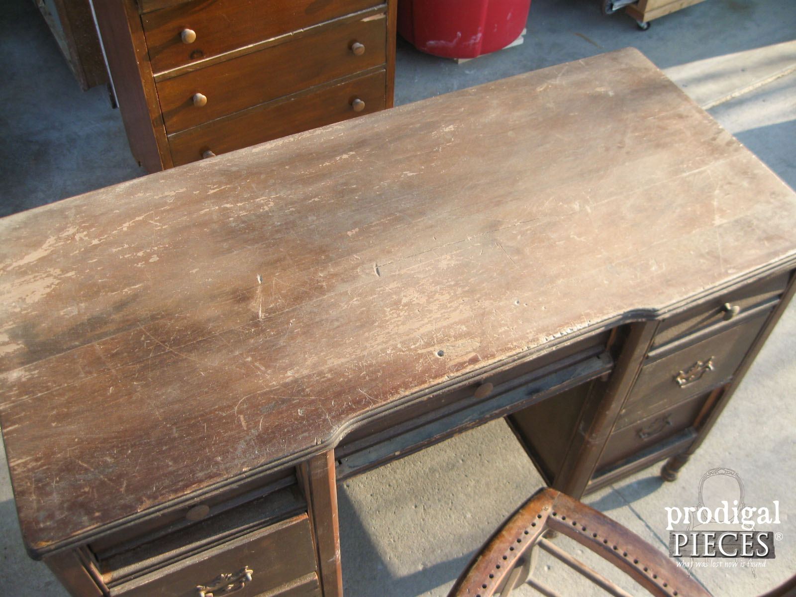 Antique Desk has Damaged Top | Prodigal Pieces | www.prodigalpieces.com