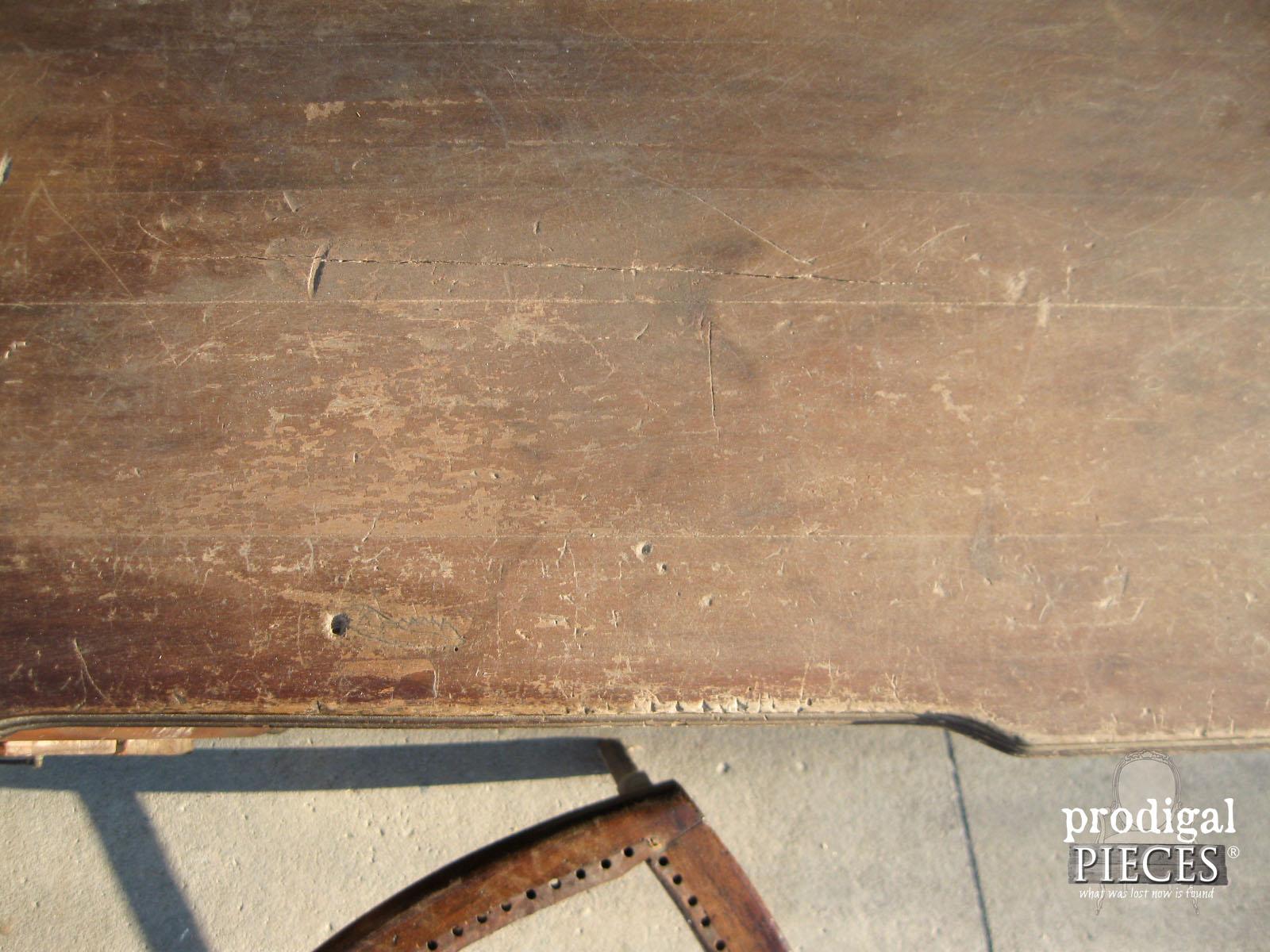 Damaged Antique Desk Top Close-up | Prodigal Pieces | www.prodigalpieces.com
