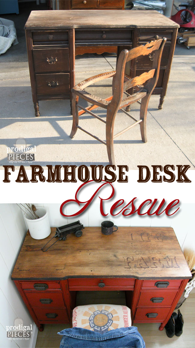 Farmhouse Desk Rescue with Woodburned Top by Prodigal Pieces | prodigalpieces.com