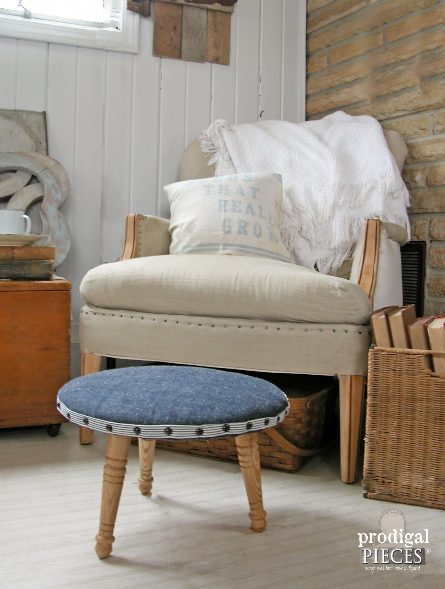 A Once Curbside Footstool Gets a Modern Update by Prodigal Pieces | www.prodigalpieces.com
