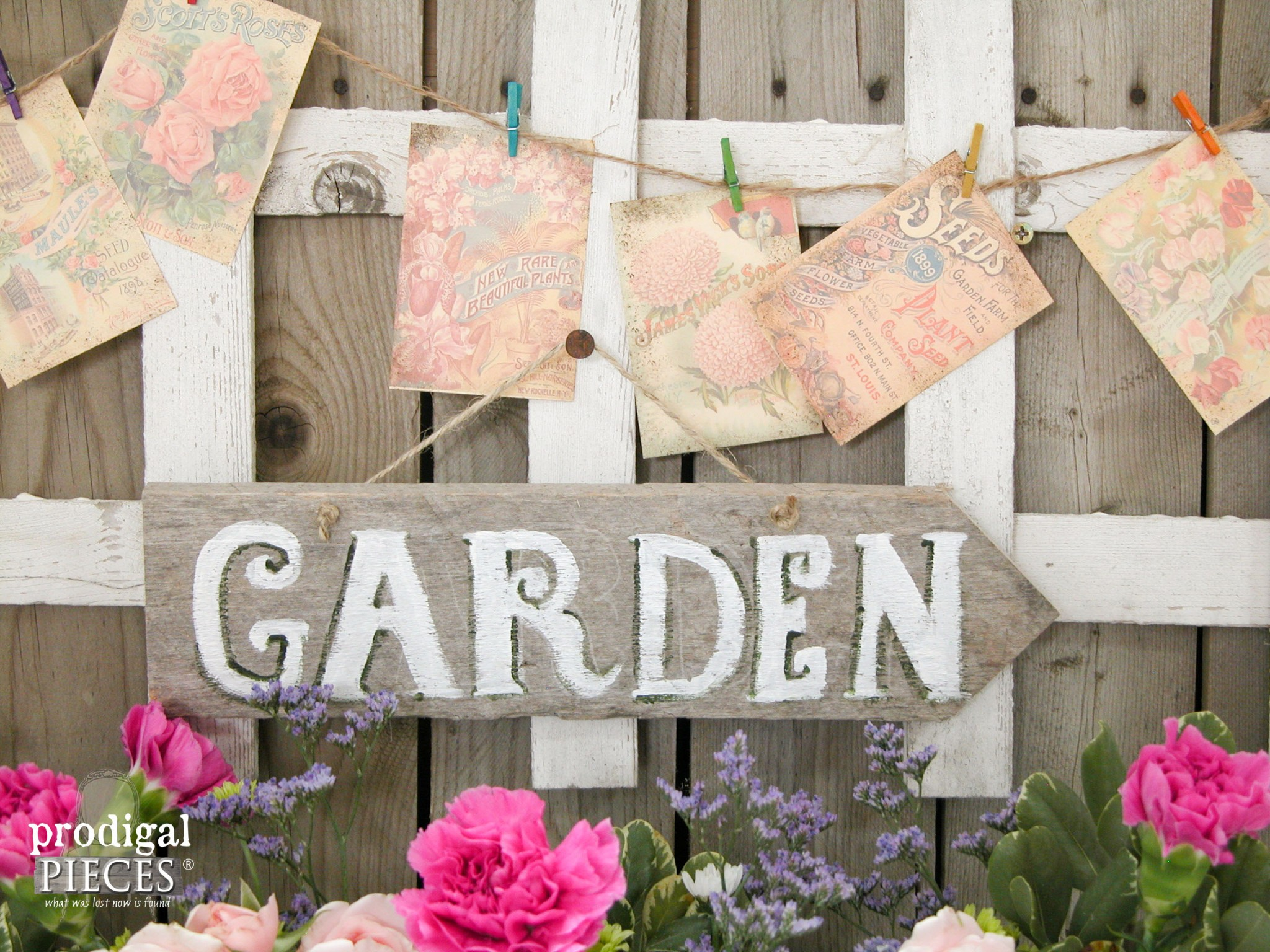 Hand-Painted Garden Sign Repurposed from Barn Wood by Prodigal Pieces | www.prodigalpieces.com