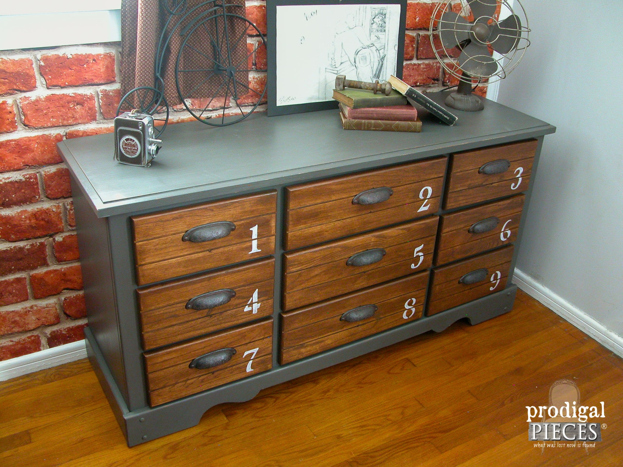 Left Side View of Industrial Vintage Dresser by Prodigal Pieces | www.prodigalpieces.com
