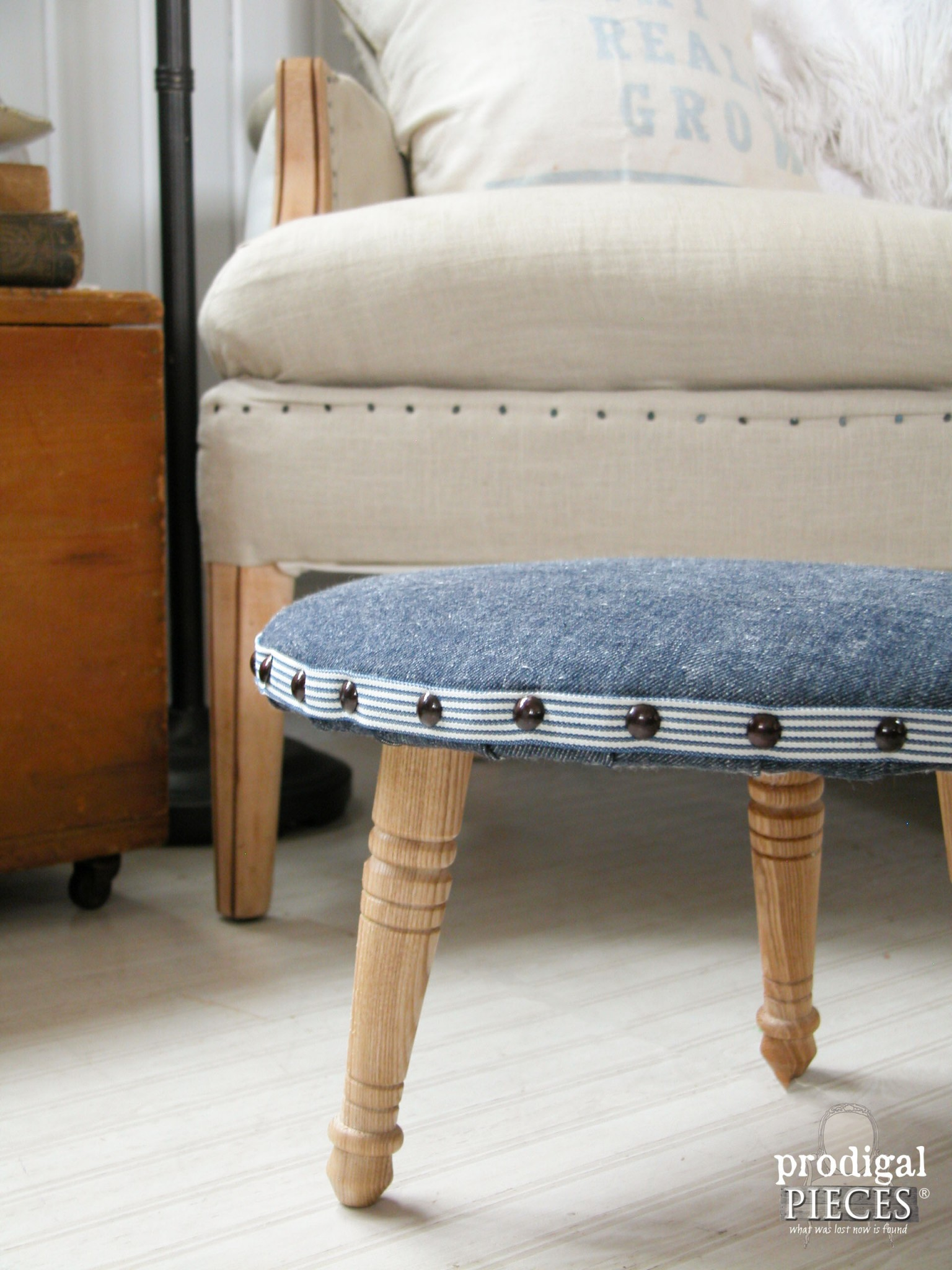 Denim Upholstered Footstool by Prodigal Pieces | prodigalpieces.com