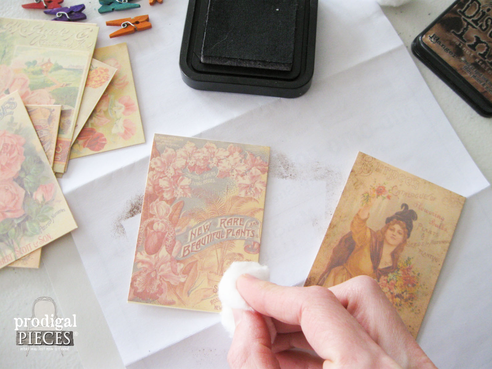 Adding Aged Texture to Vintage Seed Packs by Prodigal Pieces | www.prodigalpieces.com