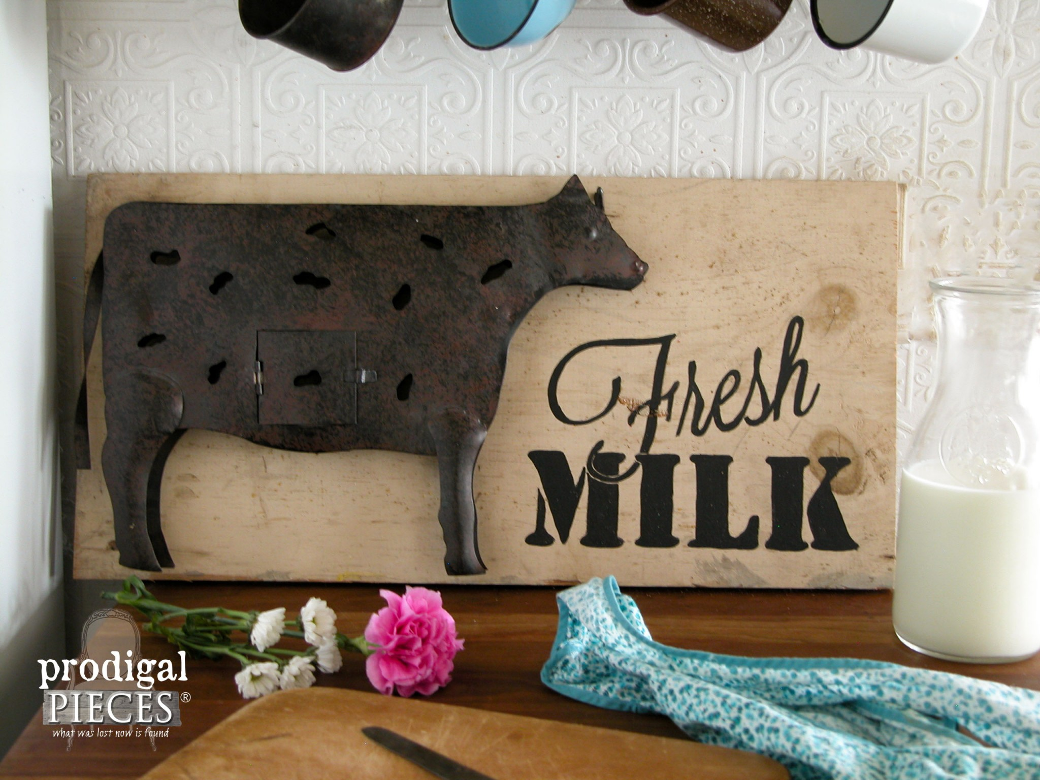Rustic Farmhouse Fresh Milk Sign from Reclaimed Finds by Prodigal Pieces | www.prodigalpieces.com
