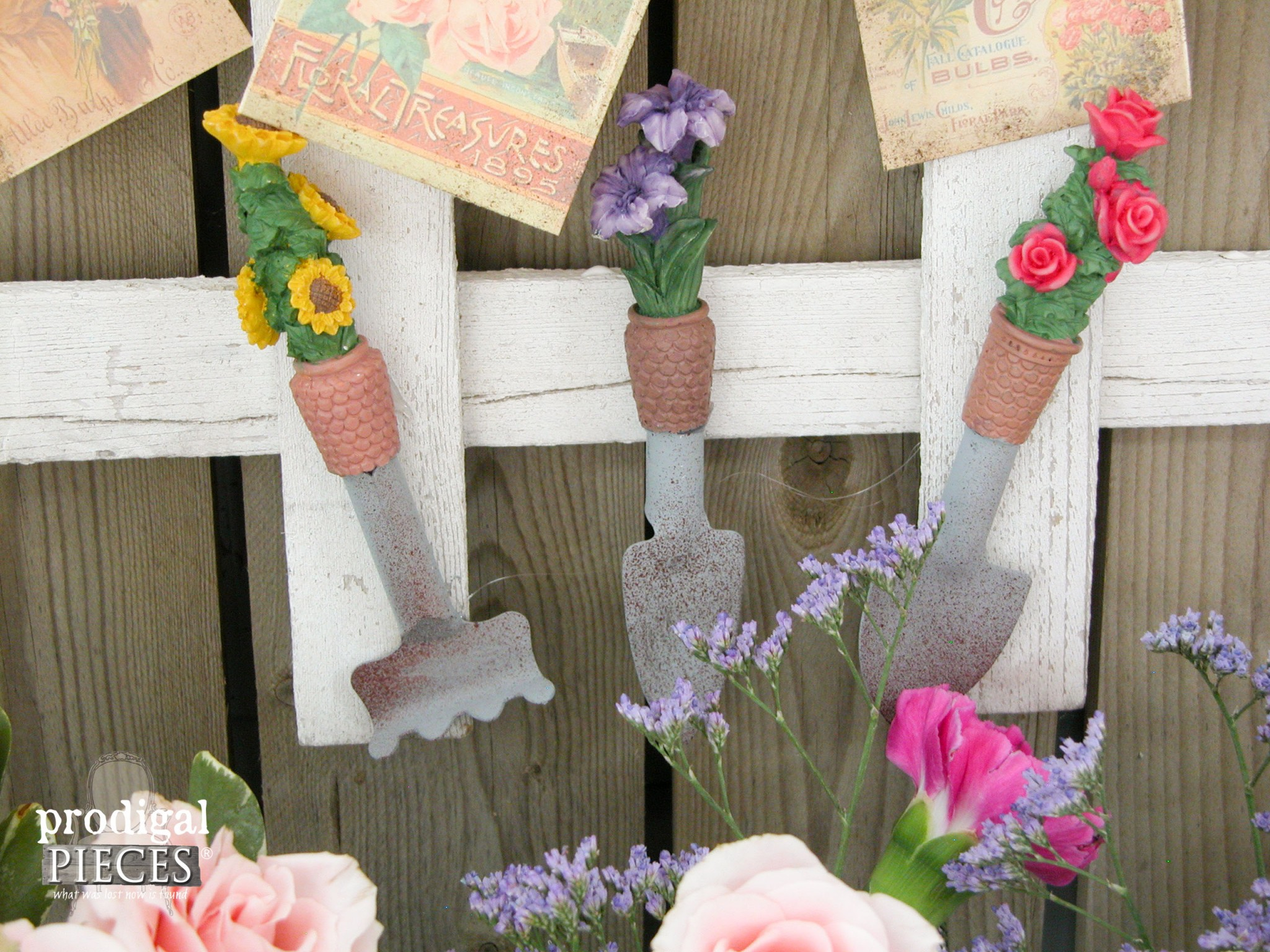 Miniature Garden Tools on Repurposed PIcket Fence by Prodigal Pieces | www.prodigalpieces.com