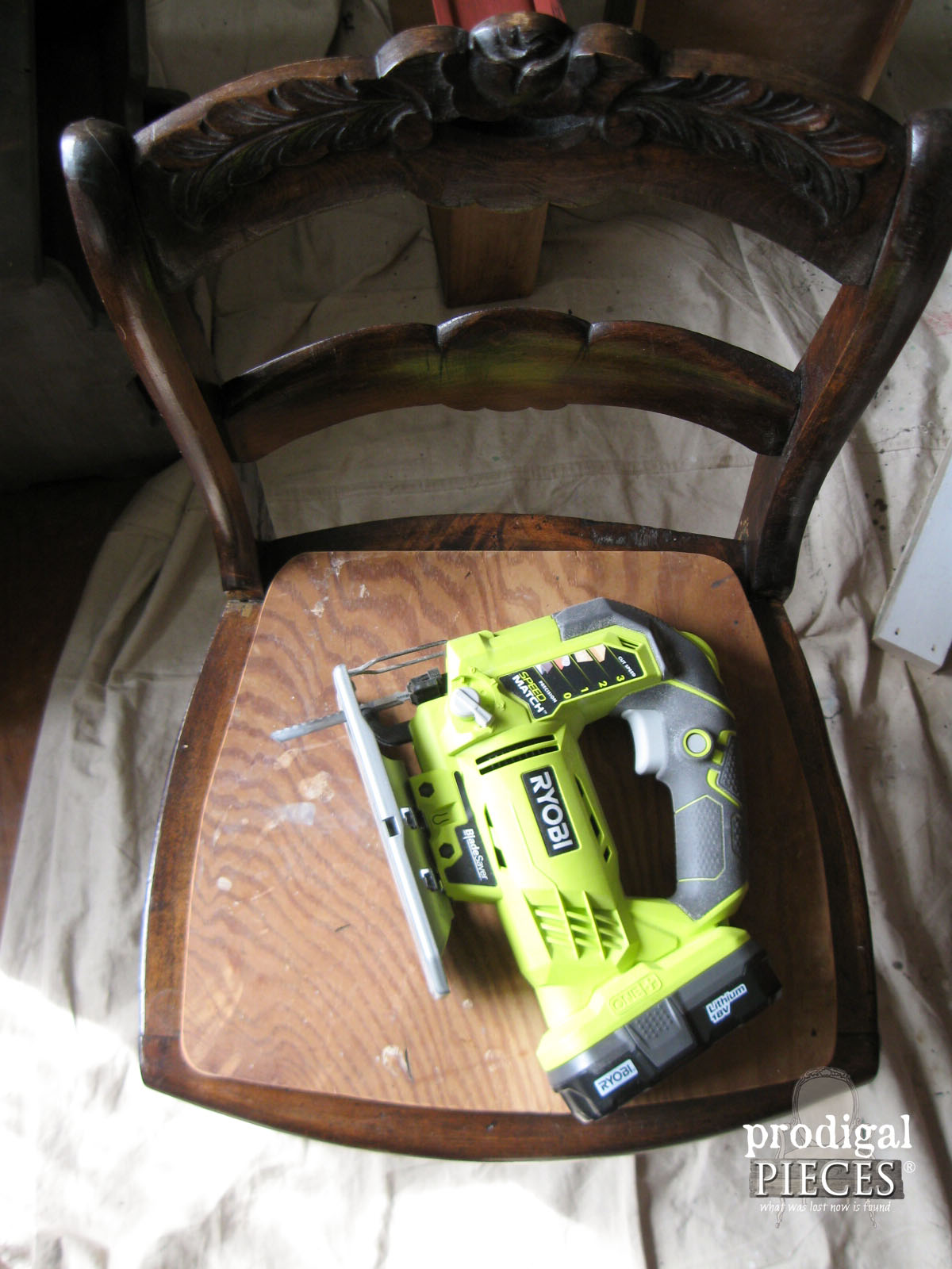 Ryobi Jigsaw Sitting on New Chair Seat | Prodigal Pieces | www.prodigalpieces.com