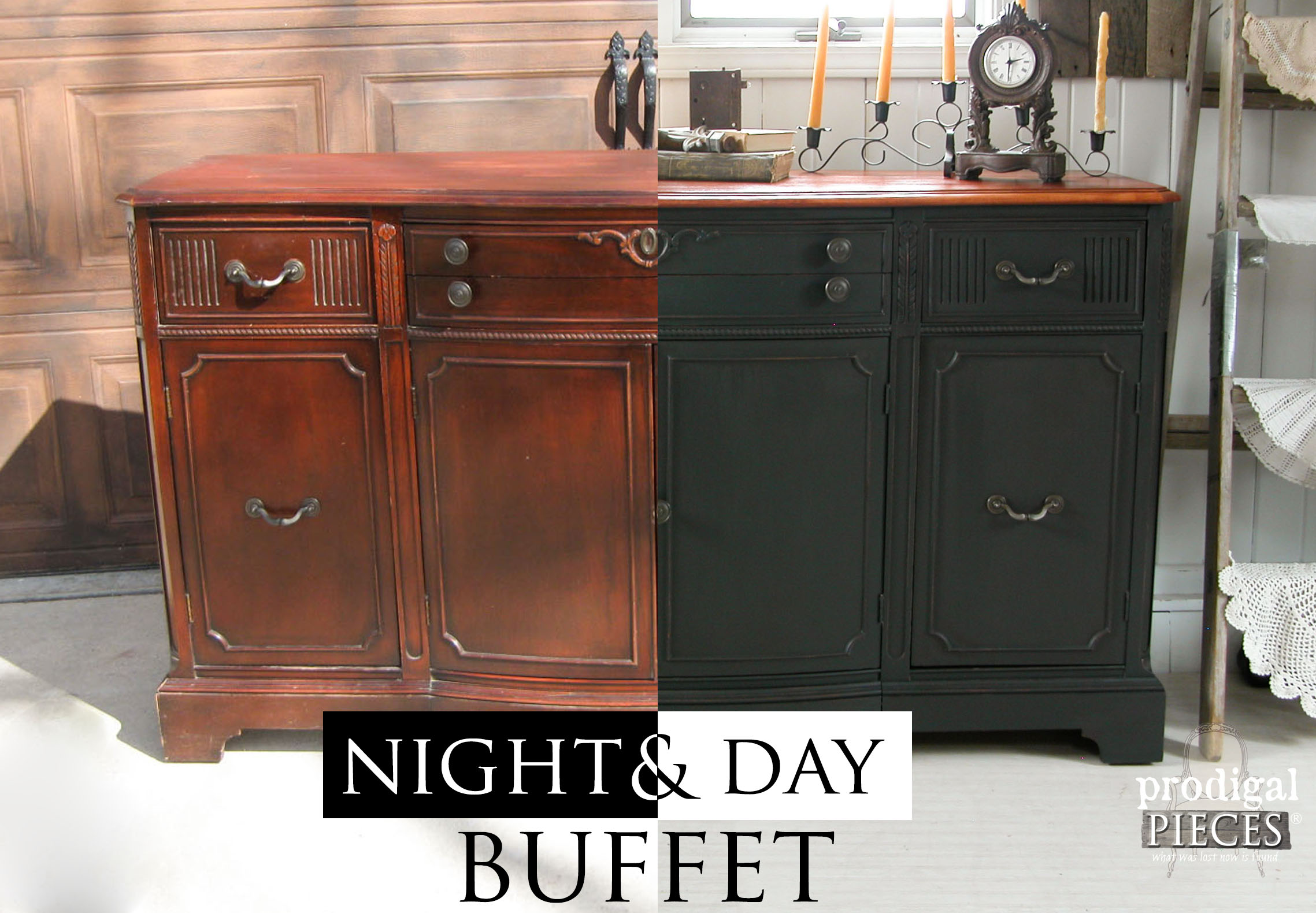 Vintage Buffet Gets Night and Day Makeover by Prodigal Pieces | prodigalpieces.com