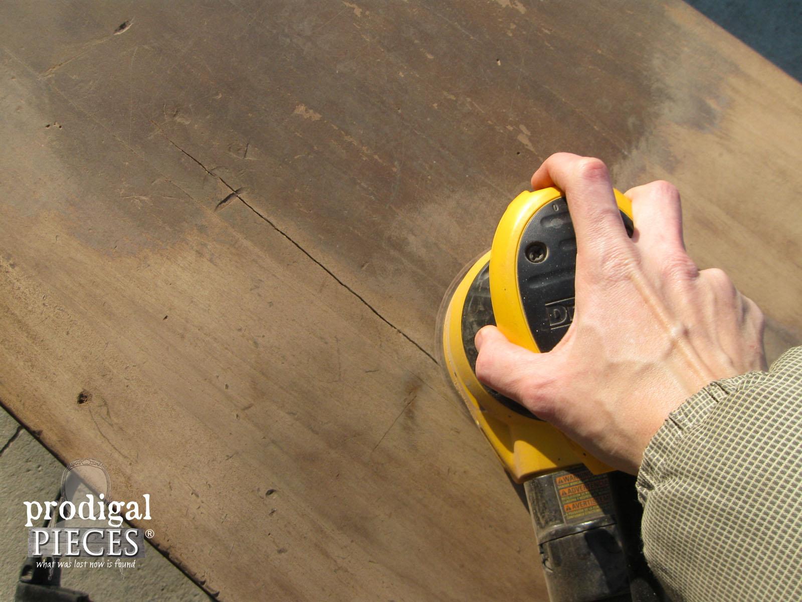 Sanding Antique Desk Top | Prodigal Pieces | www.prodigalpieces.com