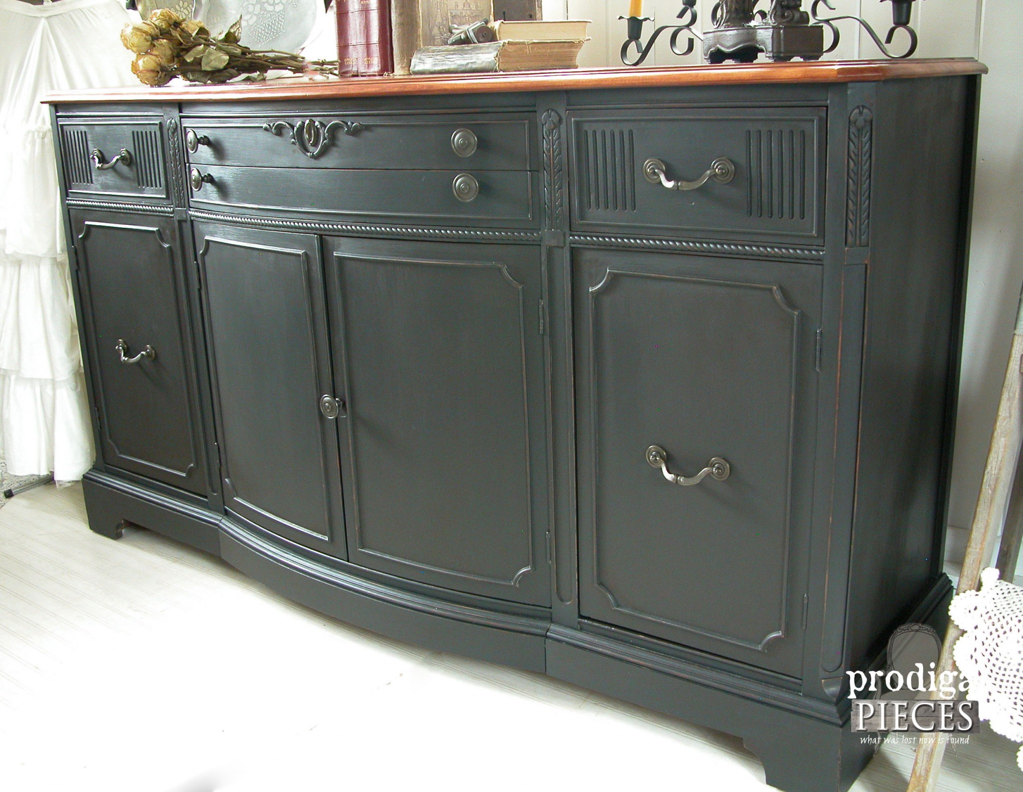 Side View of Vintage Black Buffet by Prodigal Pieces | www.prodigalpieces.com