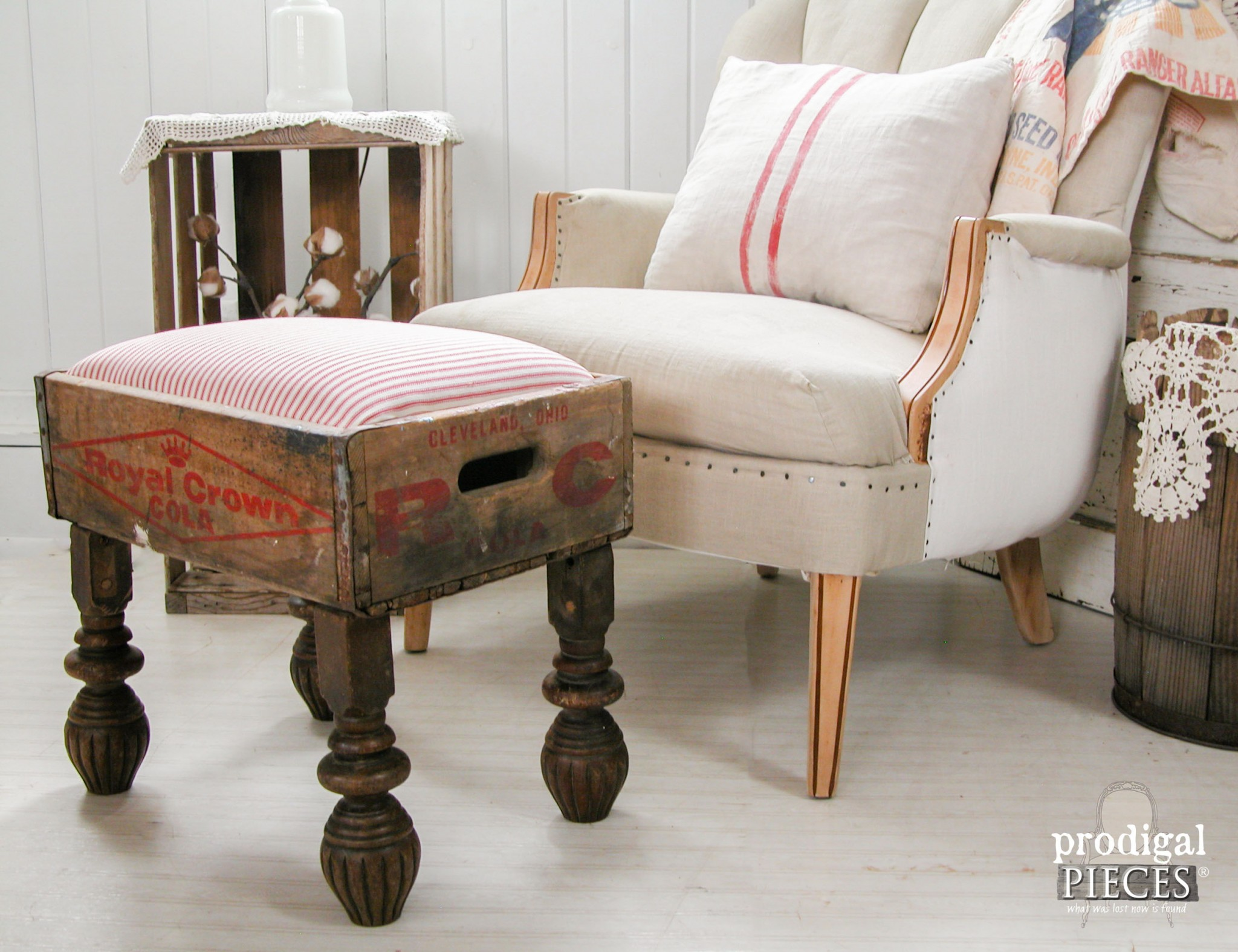 Repurposed Royal Crown Cola Crate Foot Stool by Prodigal Pieces | www.prodigalpieces.com
