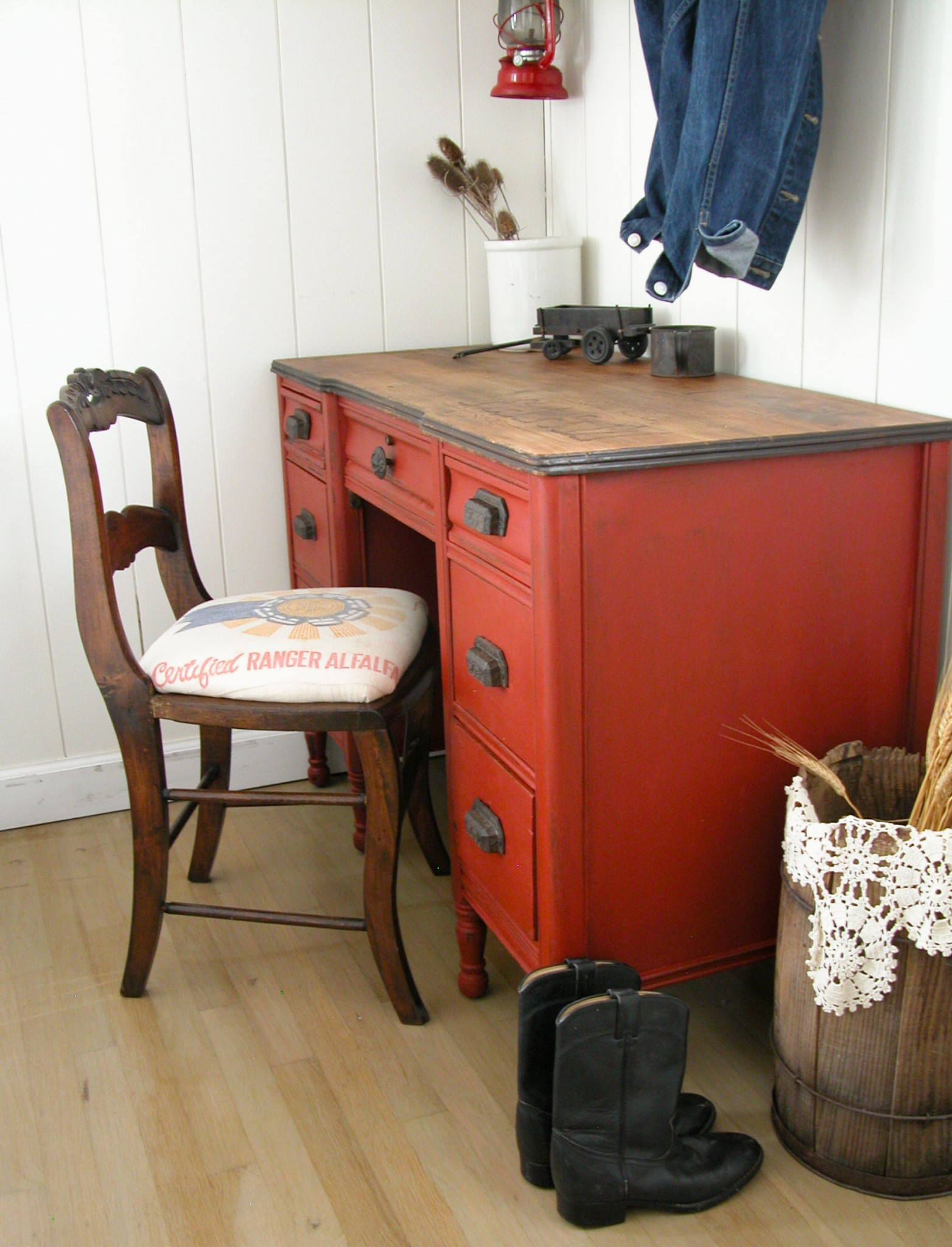 Feedsack Chair with Rustic Red Desk by Prodigal Pieces | www.prodigalpieces.com