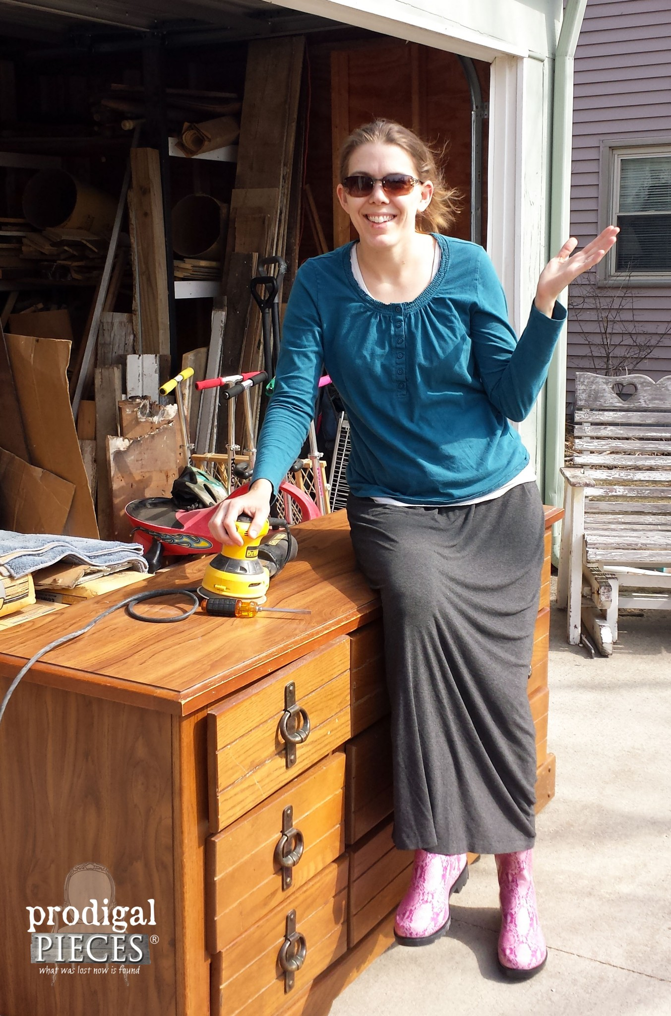 Sitting on Vintage Dresser for Updating | Prodigal Pieces | www.prodigalpieces.com